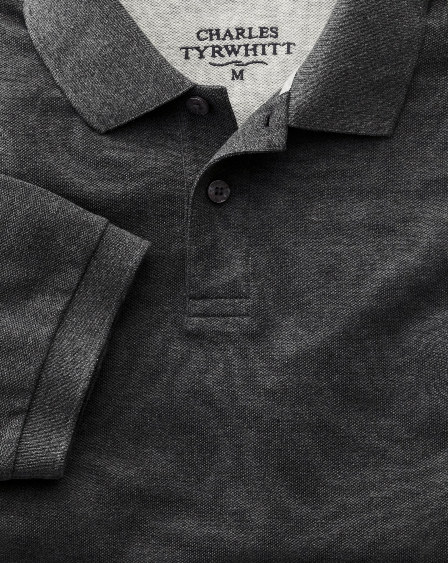 Charcoal Pique Polo Charles Tyrwhitt