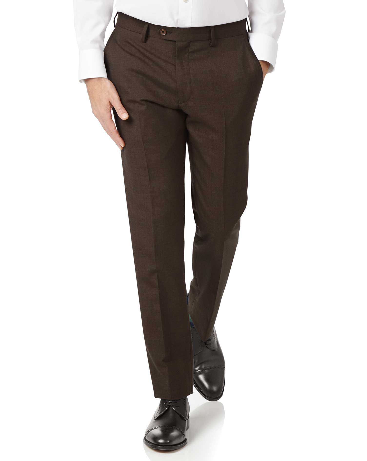 Chocolate Slim Fit Sharkskin Travel Suit Trousers Size W40 L38 by Charles Tyrwhitt