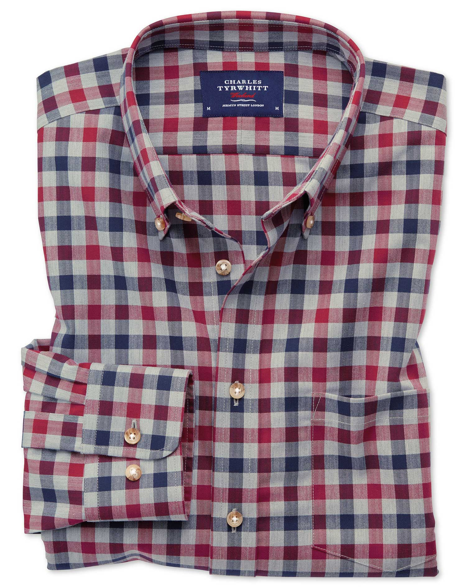 Slim fit button down non iron twill red and navy gingham for Slim fit non iron shirts