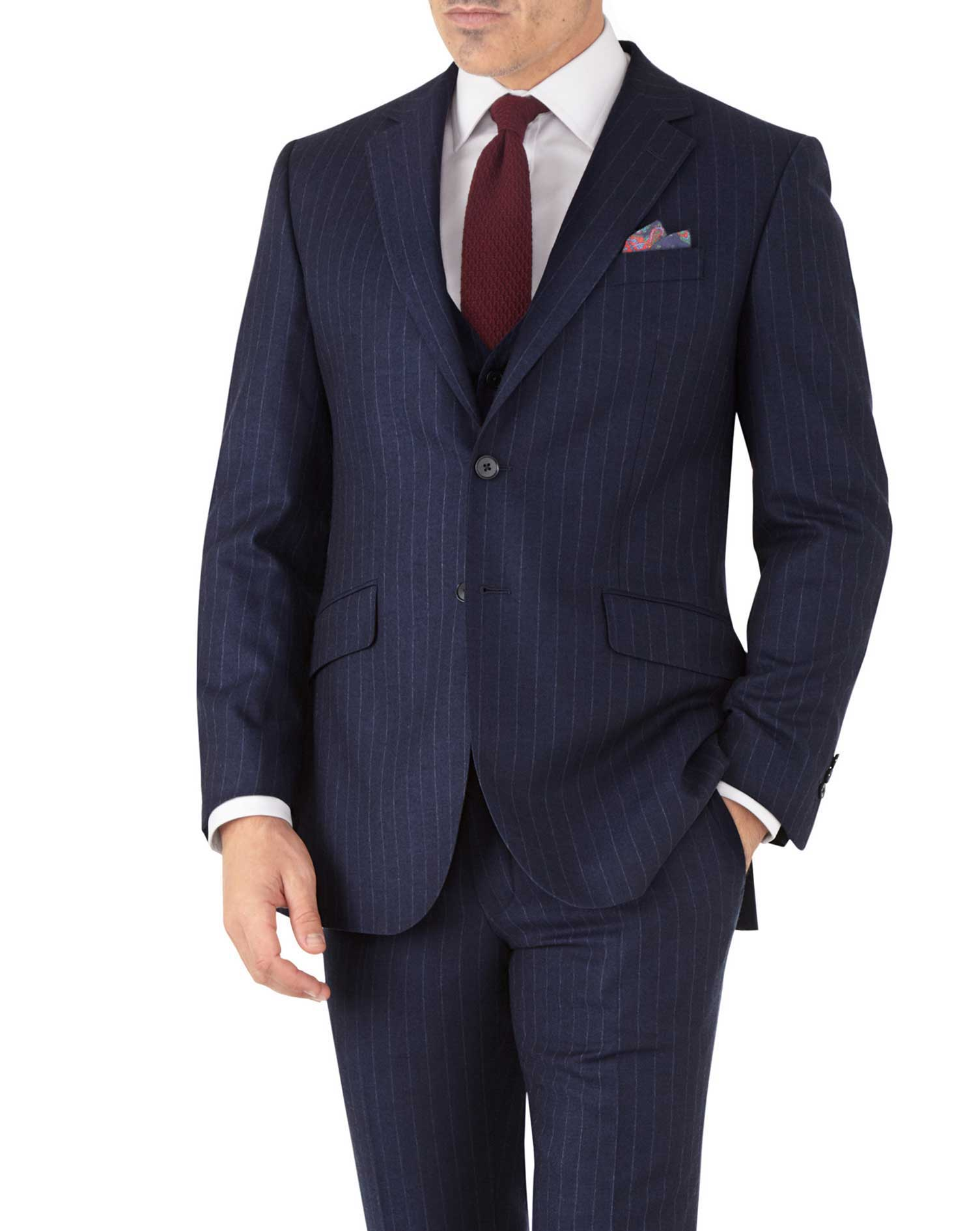 Navy Stripe Slim Fit Flannel Business Suit Wool Jacket Size 38 Long by Charles Tyrwhitt