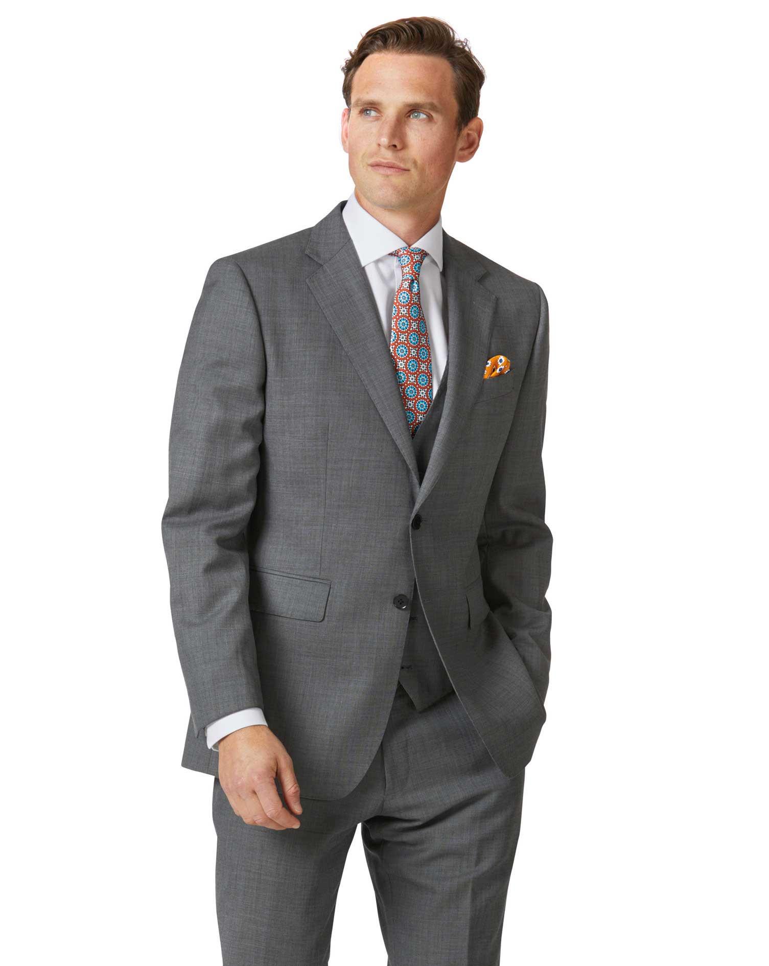 Light Grey Slim Fit Sharkskin Travel Suit Wool Jacket Size 38 Regular by Charles Tyrwhitt