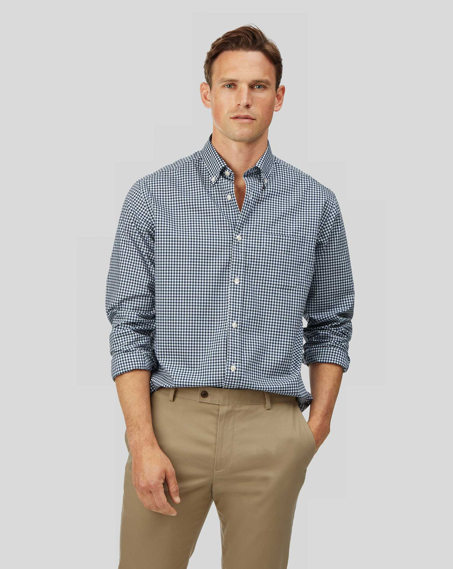 Cotton Classic Fit Soft Washed Non-Iron Stretch Poplin Gingham Navy Shirt