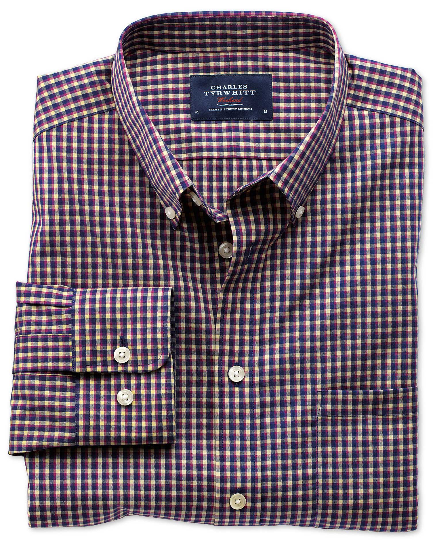 Extra Slim Fit Non-Iron Poplin Navy and Berry Check Cotton Shirt Single Cuff Size Small by Charles T