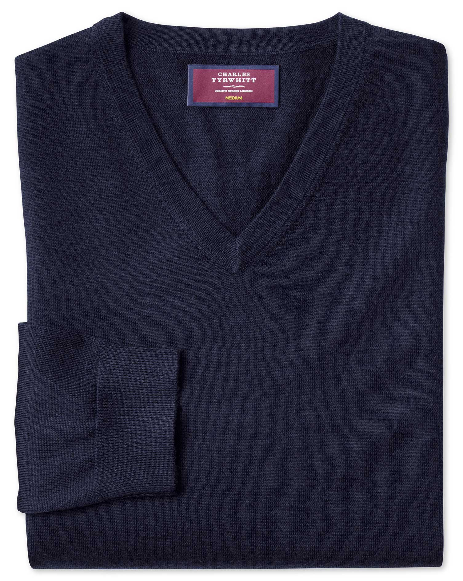 Navy Merino Silk V-Neck Jumper Size Large by Charles Tyrwhitt