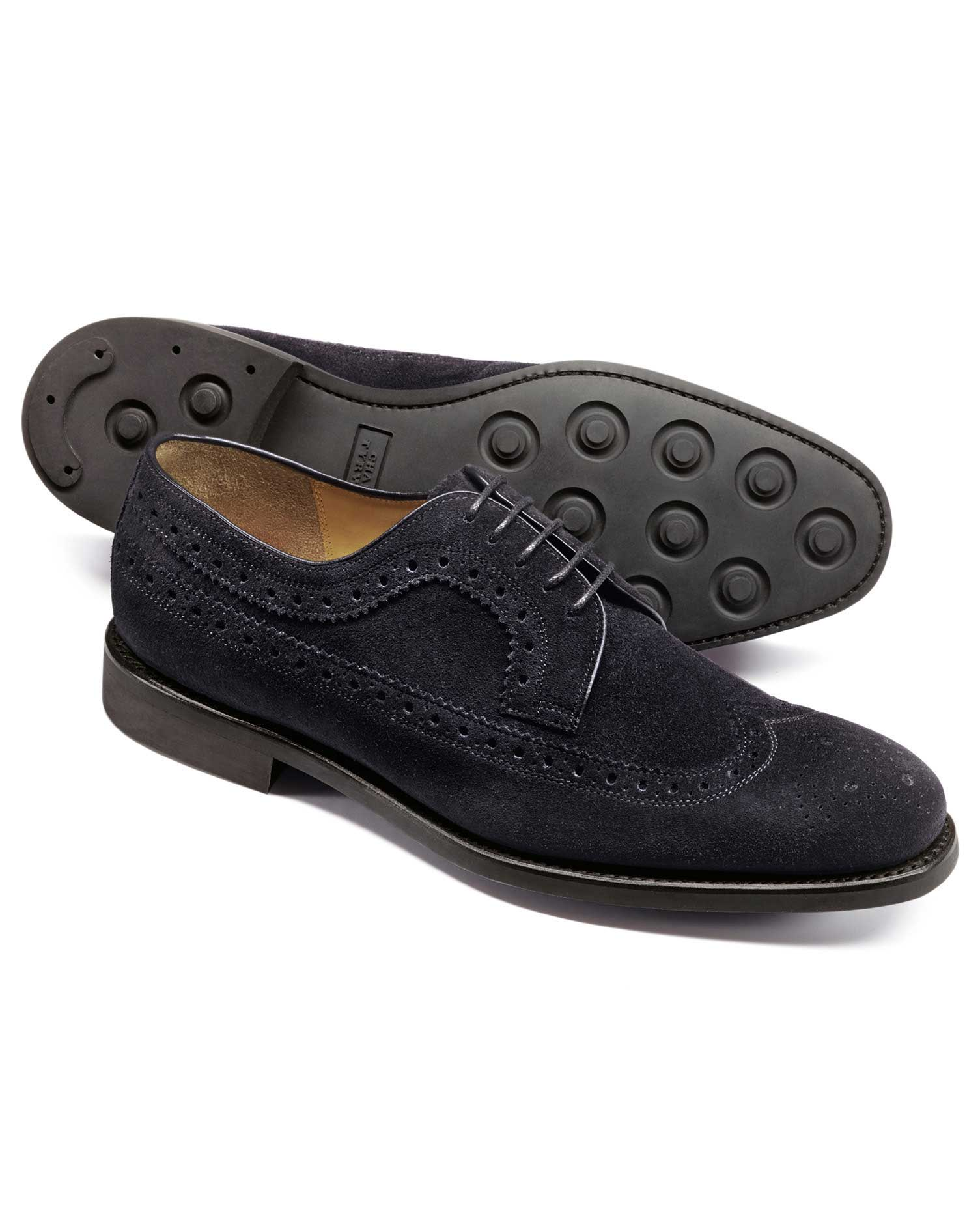 Dark Navy Suede Goodyear Welted Derby Wing Tip Brogue Shoes Size 9.5 W by Charles Tyrwhitt