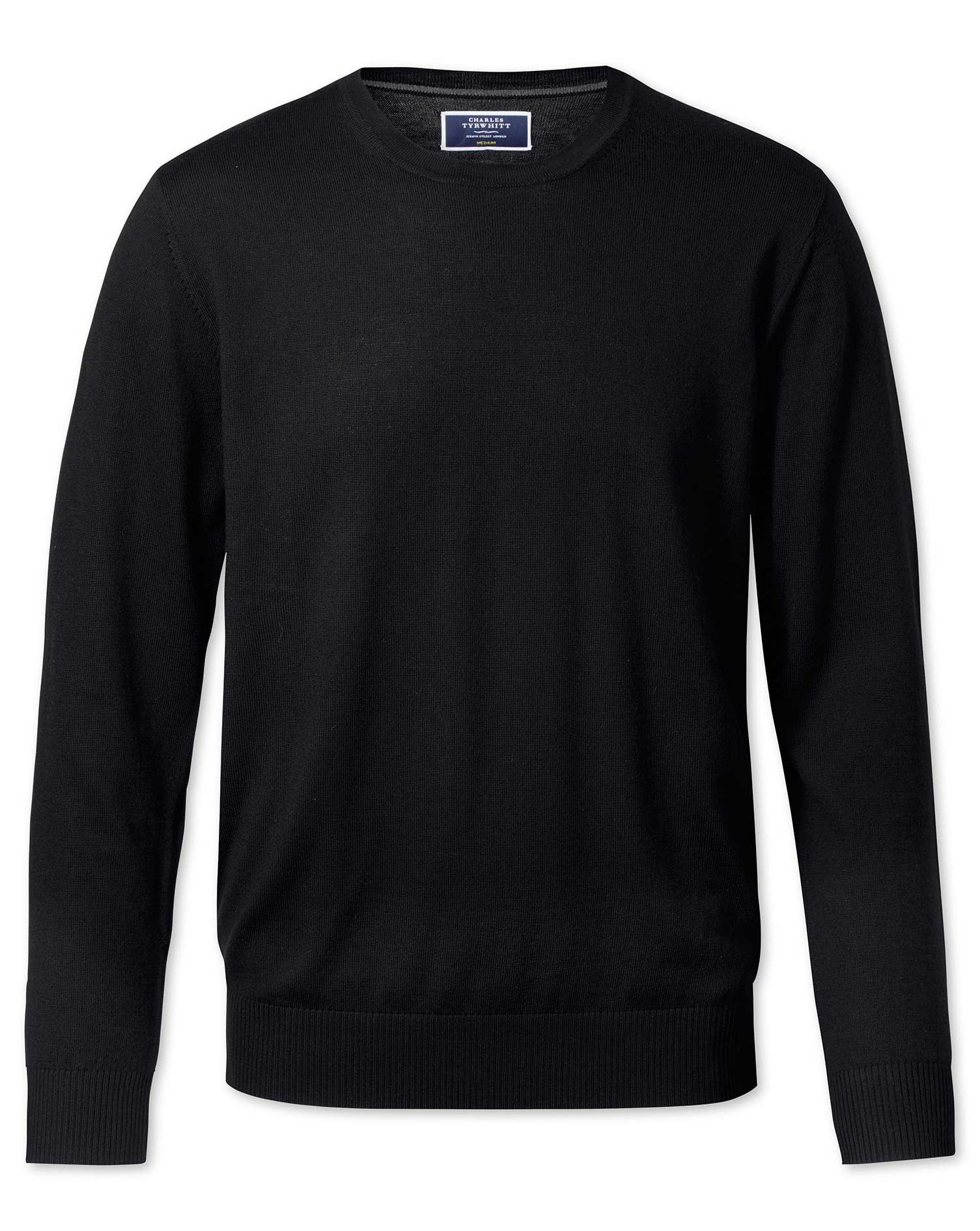 Black Merino Wool Crew Neck Jumper Size XL by Charles Tyrwhitt