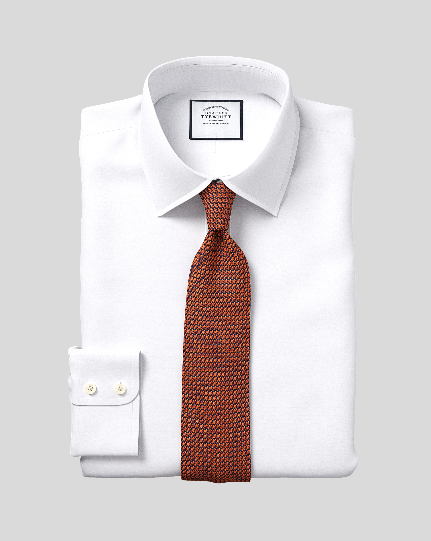 Classic Fit White Egyptian Cotton Poplin Formal Shirt Double Cuff Size 17/35 by Charles Tyrwhitt