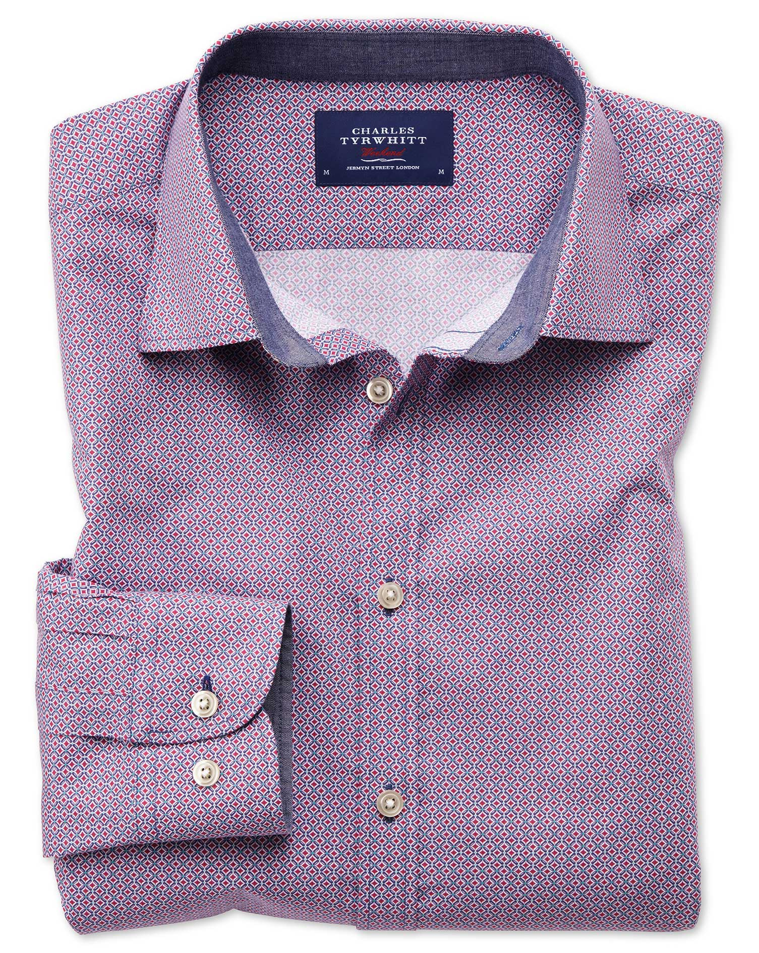 Classic Fit Magenta and Blue Print Cotton Shirt Single Cuff Size Large by Charles Tyrwhitt