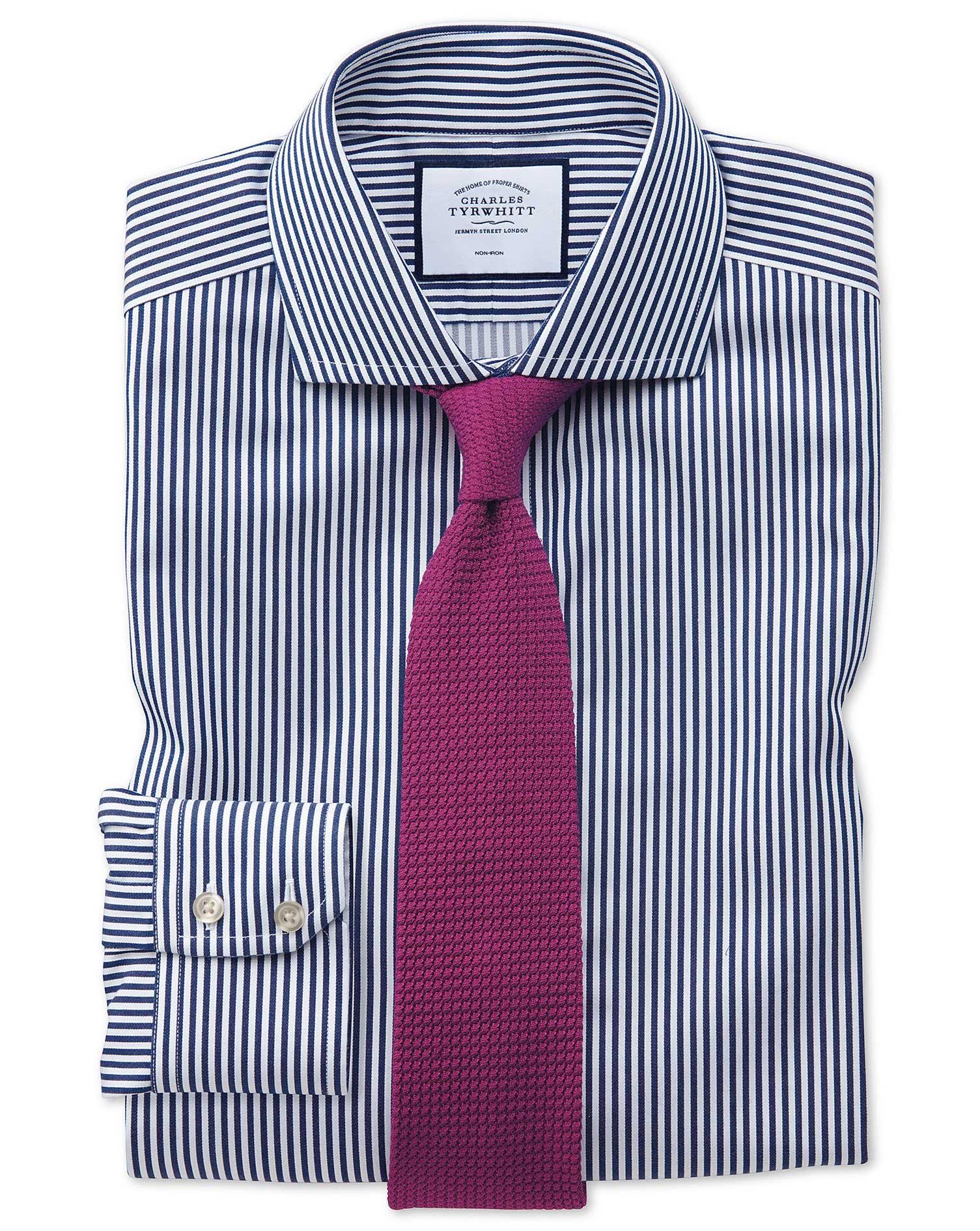 Extra Slim Fit Non-Iron Cutaway Collar Navy Twill Stripe Cotton Formal Shirt Single Cuff Size 16.5/3