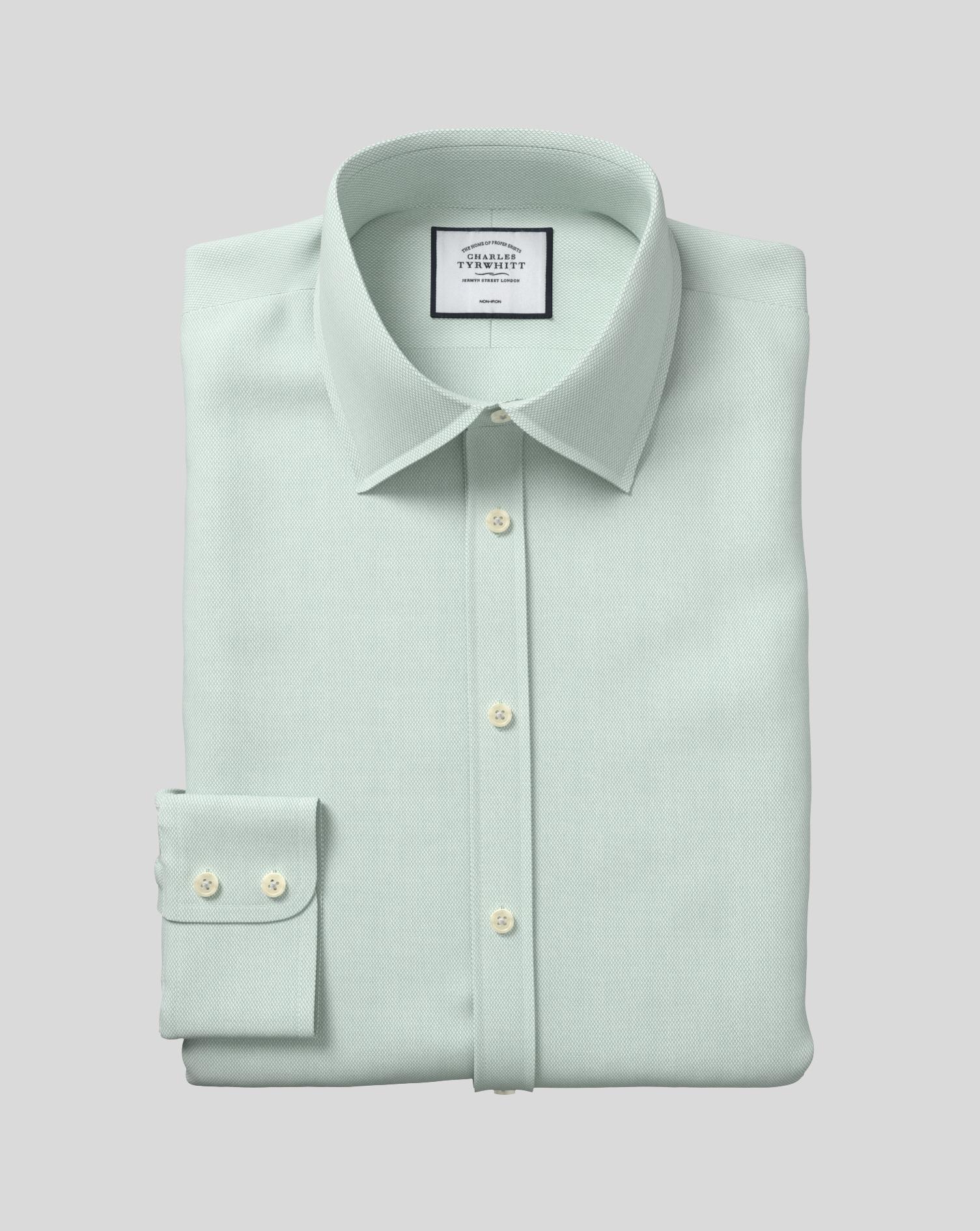 Cotton Classic Collar Non-Iron Micro Diamond Shirt - Green