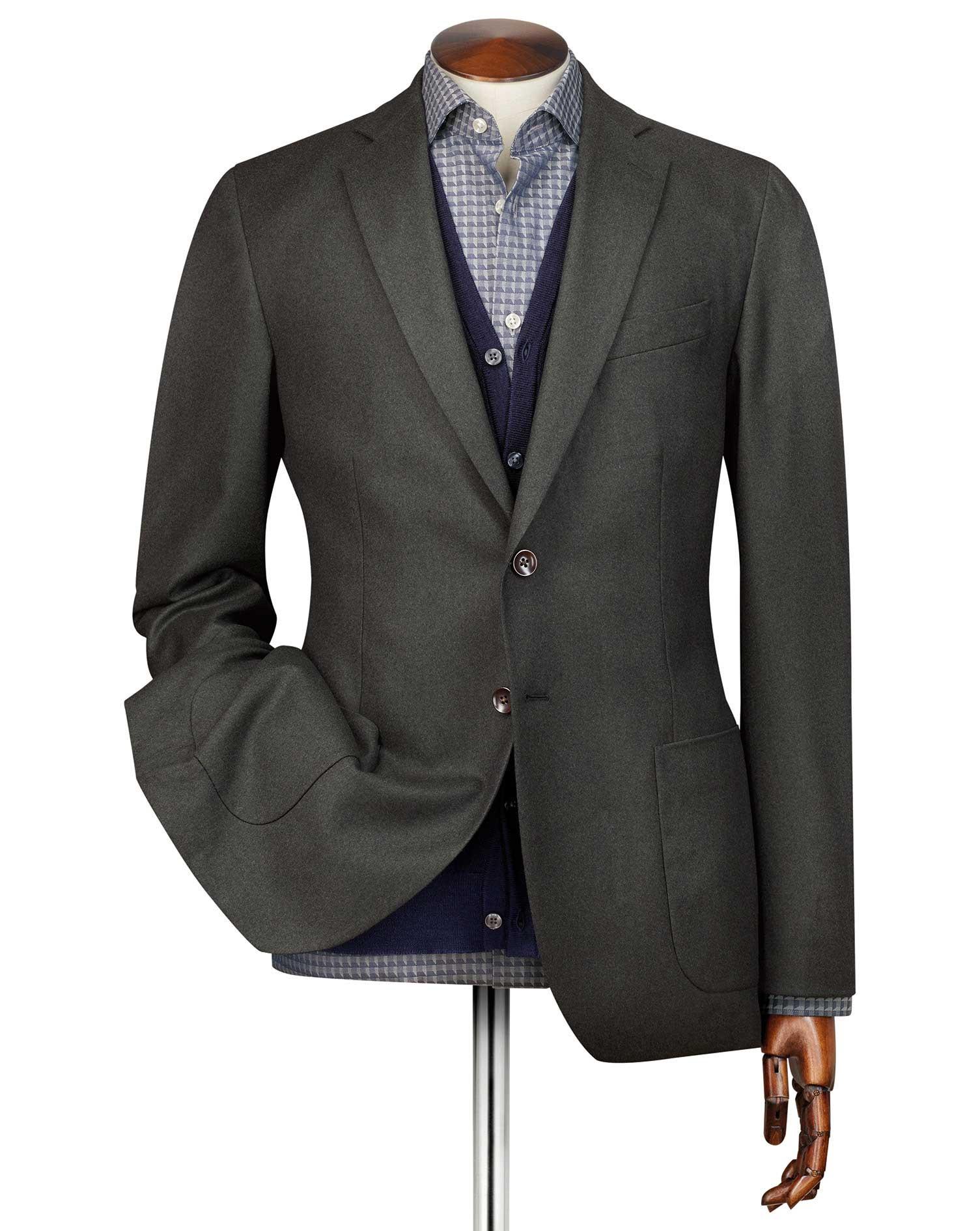 Slim Fit Green Plain Italian Wool Flannel Jacket Size 44 Regular by Charles Tyrwhitt