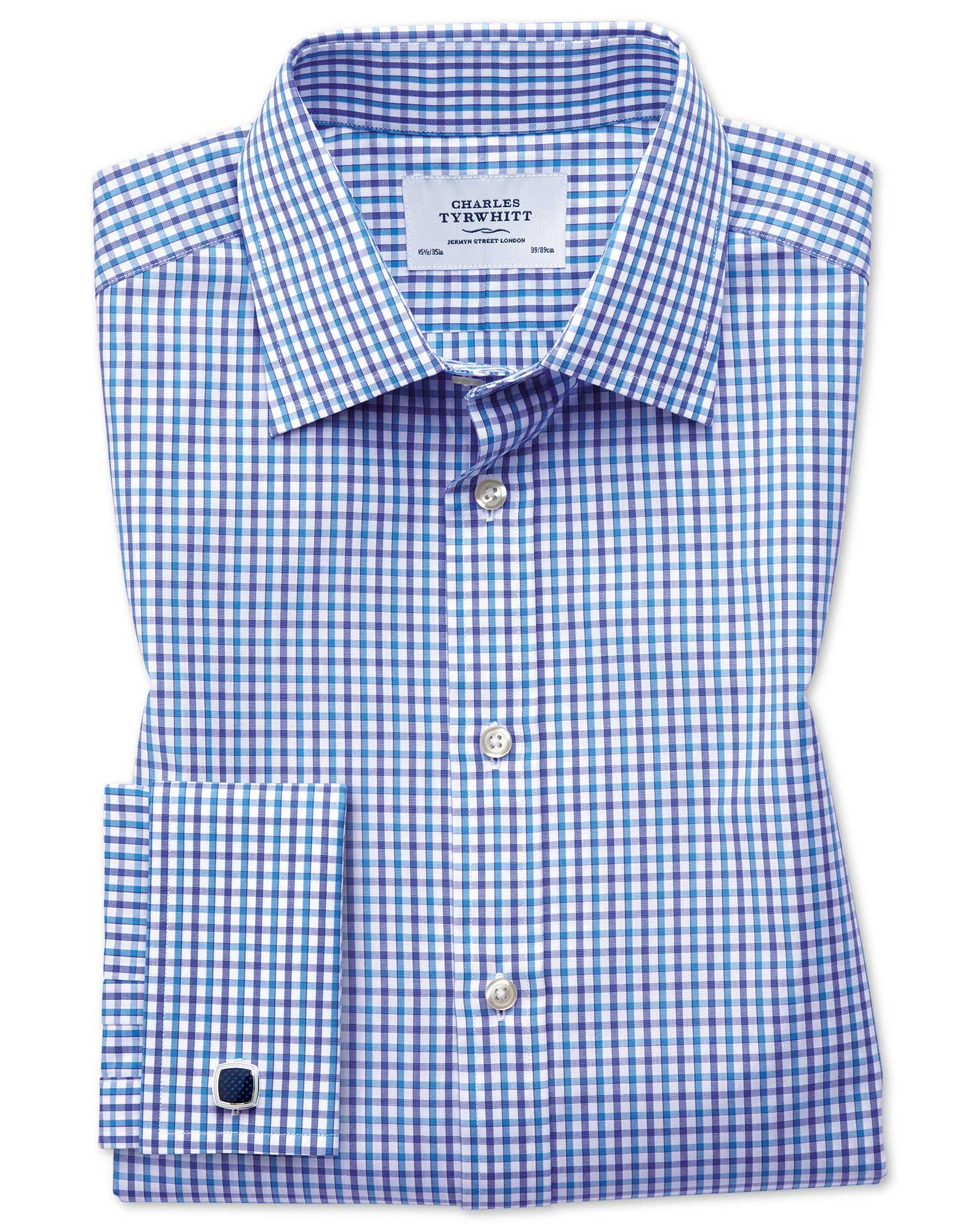 Slim Fit Two Colour Check Blue Cotton Formal Shirt Single Cuff Size 16.5/33 by Charles Tyrwhitt