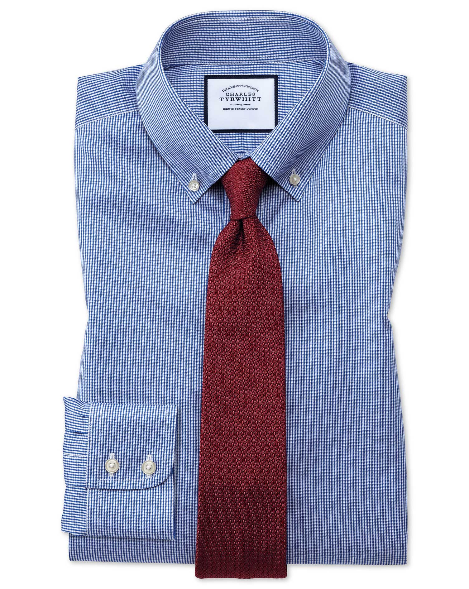 Classic Fit Button-Down Non-Iron Twill Puppytooth Royal Blue Cotton Formal Shirt Single Cuff Size 18