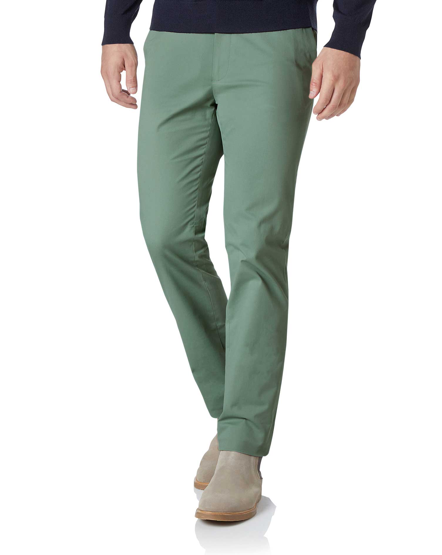 Light Green Extra Slim Fit Stretch Cotton Chino Trousers Size W32 L32 by Charles Tyrwhitt