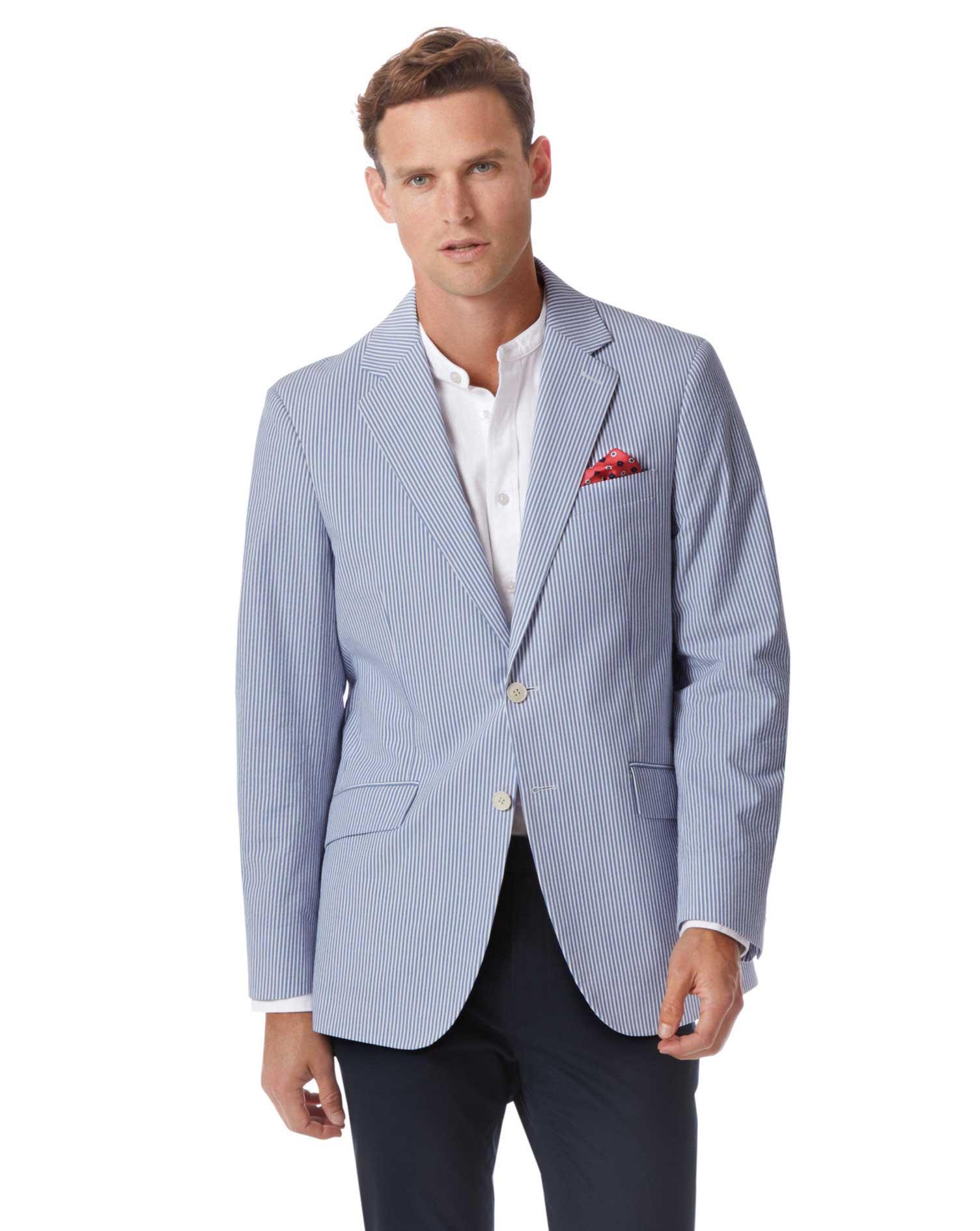 b75b17488b7 Classic fit blue striped cotton seersucker jacket