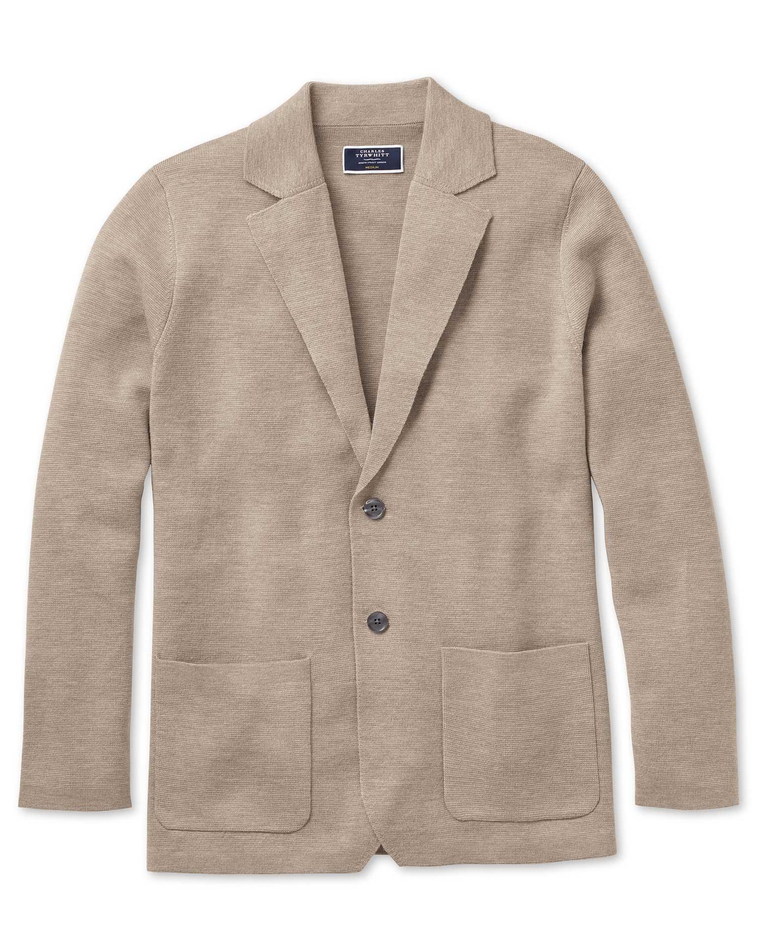 Stone Merino Wool Blazer Size XXXL by Charles Tyrwhitt