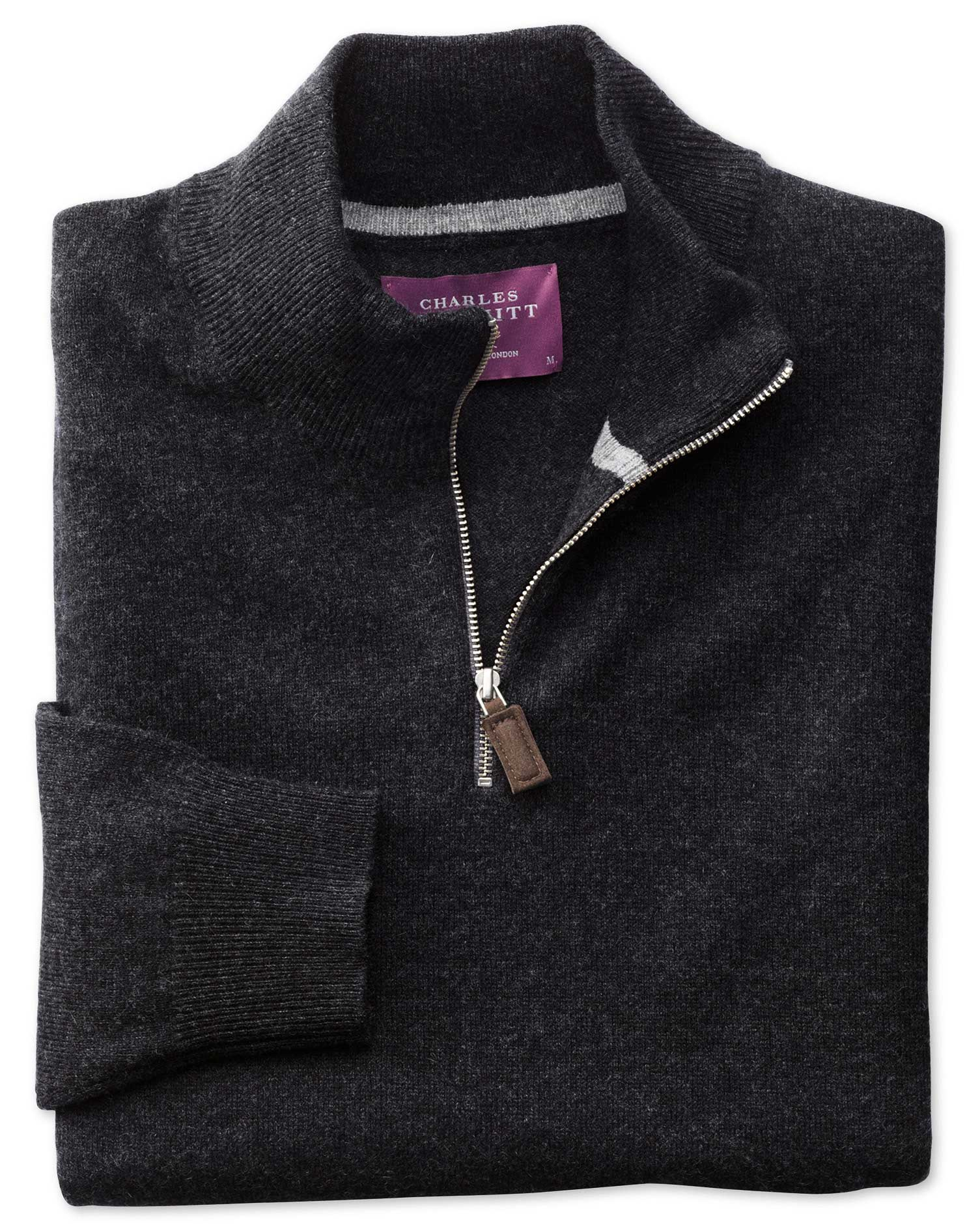 Charcoal Cashmere Zip Neck Jumper Size XS by Charles Tyrwhitt