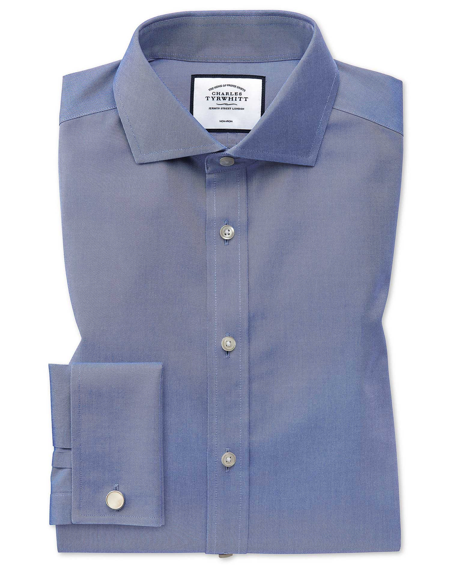 Extra Slim Fit Cutaway Non-Iron Twill Mid Blue Cotton Formal Shirt Single Cuff Size 17/37 by Charles