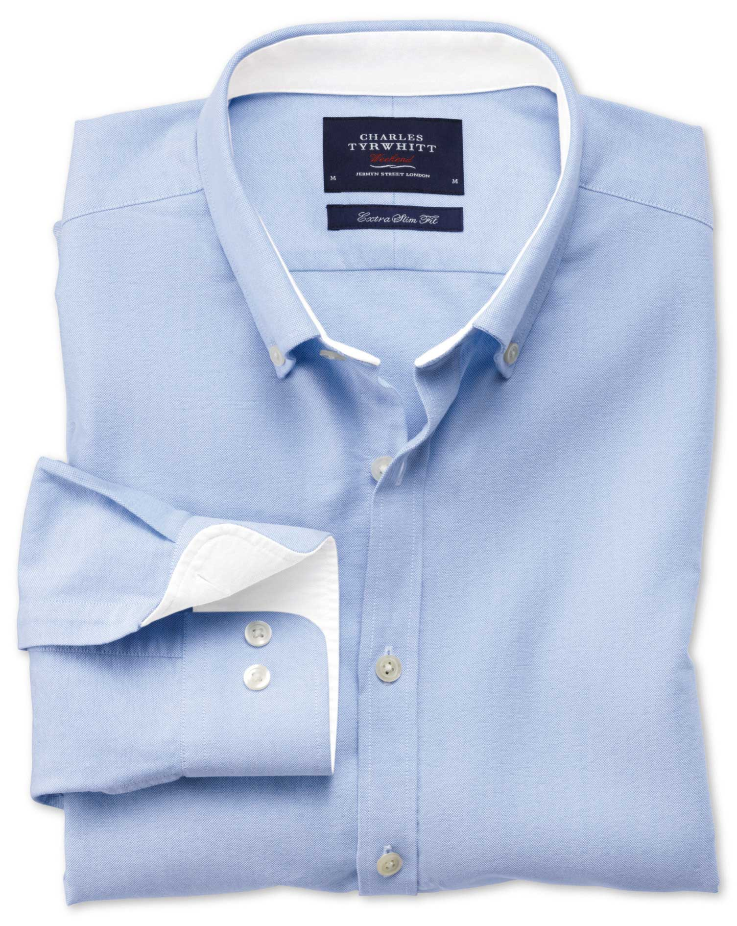 Extra Slim Fit Sky Blue Washed Oxford Cotton Shirt Single Cuff Size Small by Charles Tyrwhitt