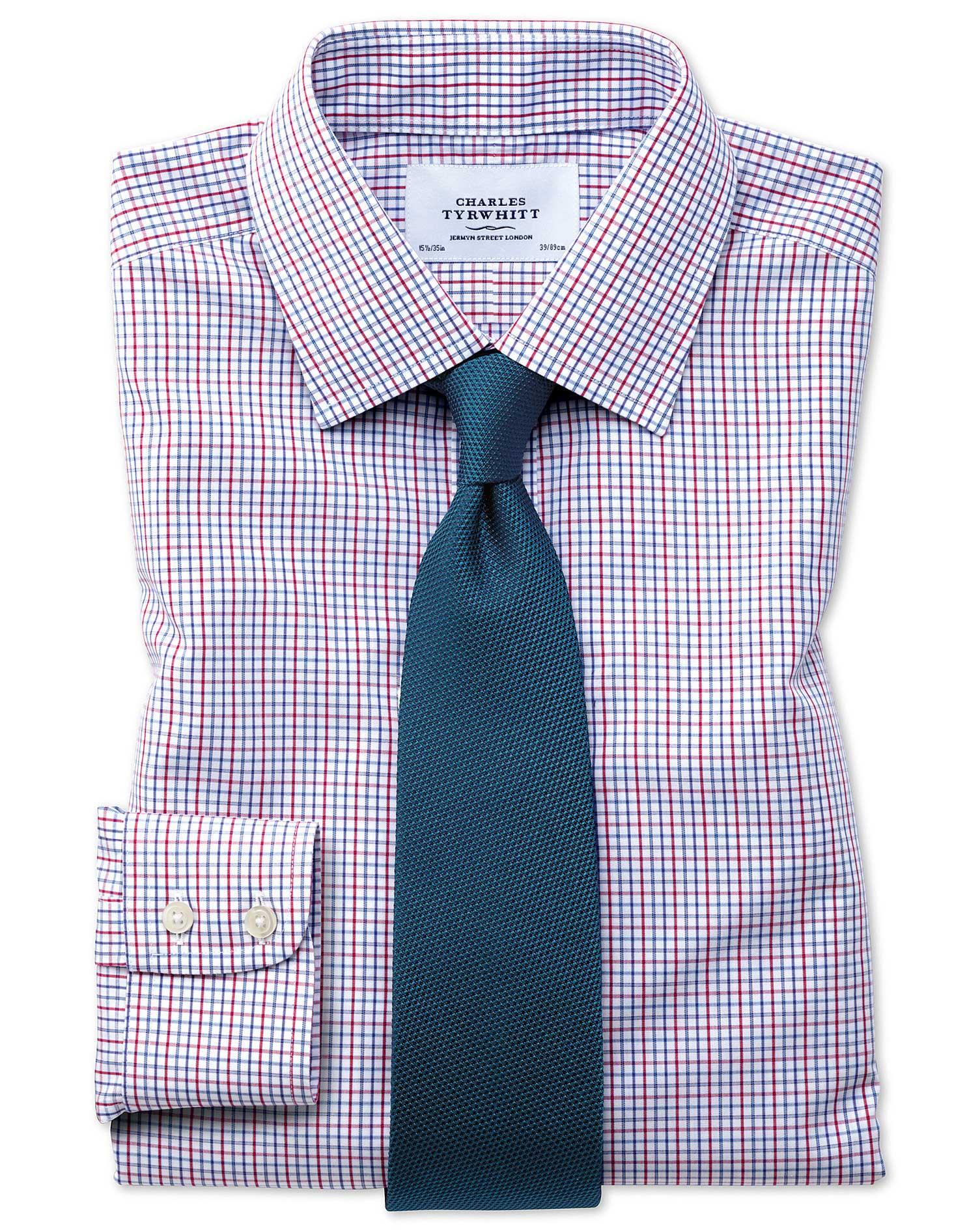 Slim fit non iron grid check multi shirt charles tyrwhitt for Slim fit non iron shirts