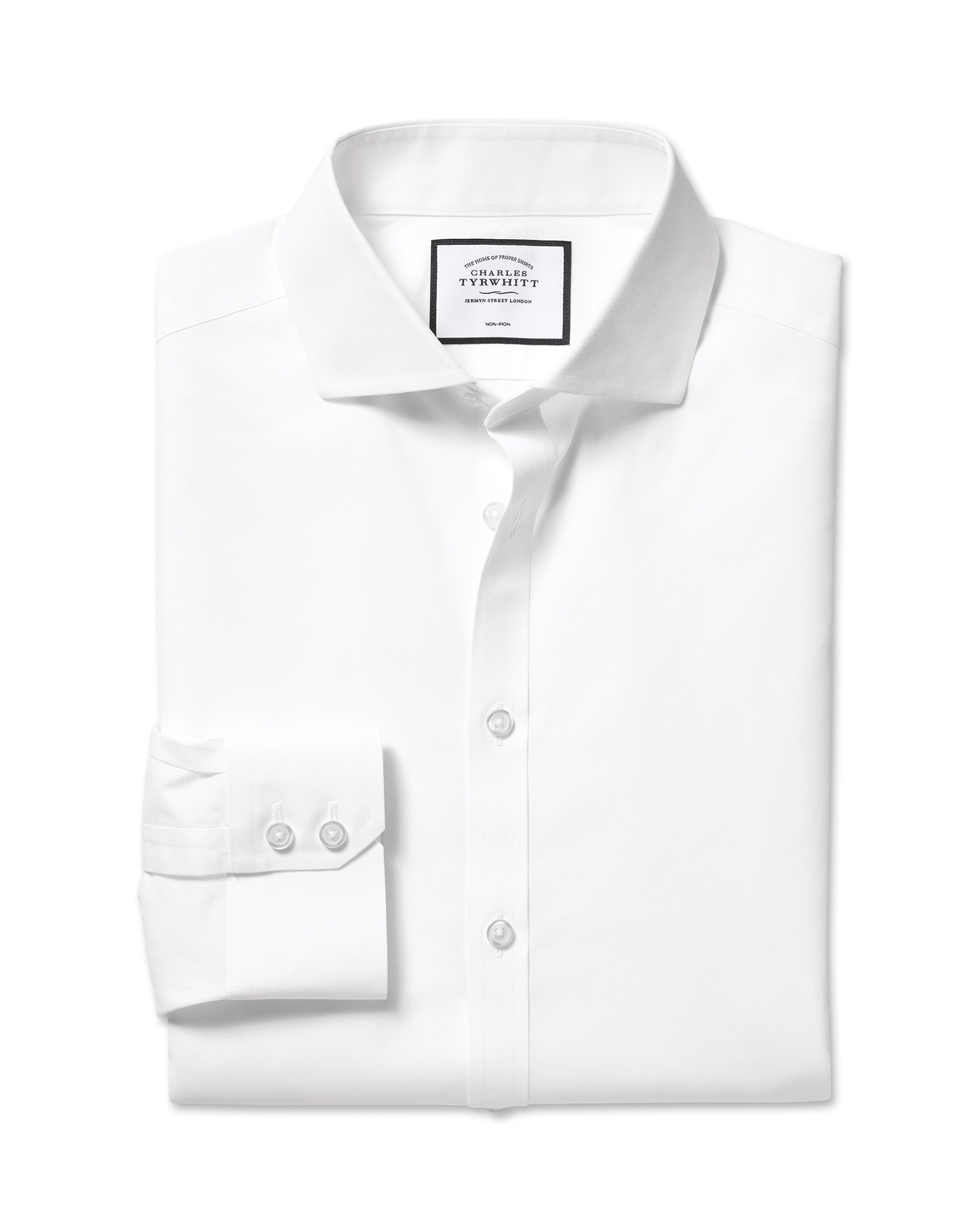 Classic Fit Cutaway Non-Iron Natural Cool White Cotton Formal Shirt Single Cuff Size 18/38 by Charle
