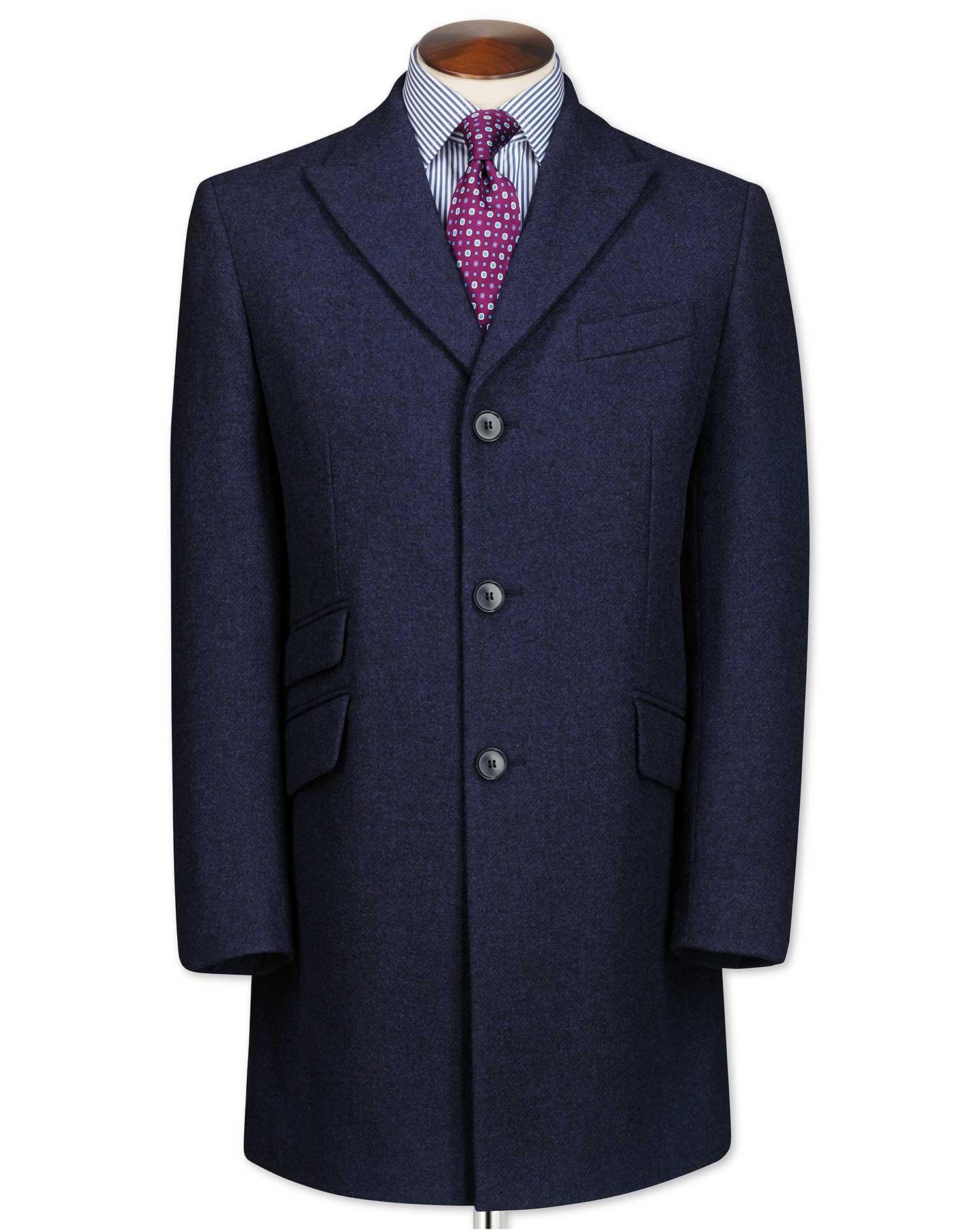 Navy Checkered Wool Epsom OverWool coat Size 40 Regular by Charles Tyrwhitt