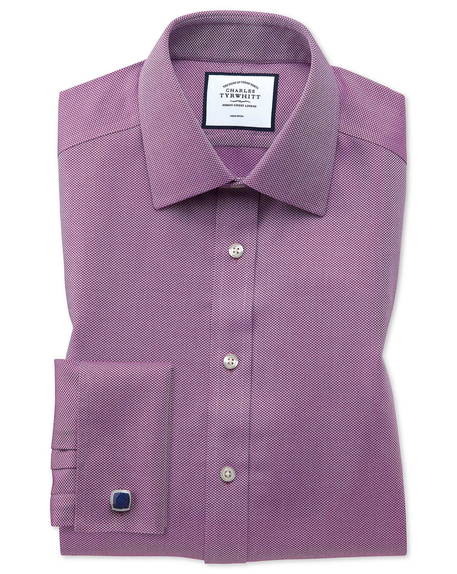 Extra Slim Fit Non-Iron Berry Arrow Weave Cotton Formal Shirt Double Cuff Size 15/34 by Charles Tyrw