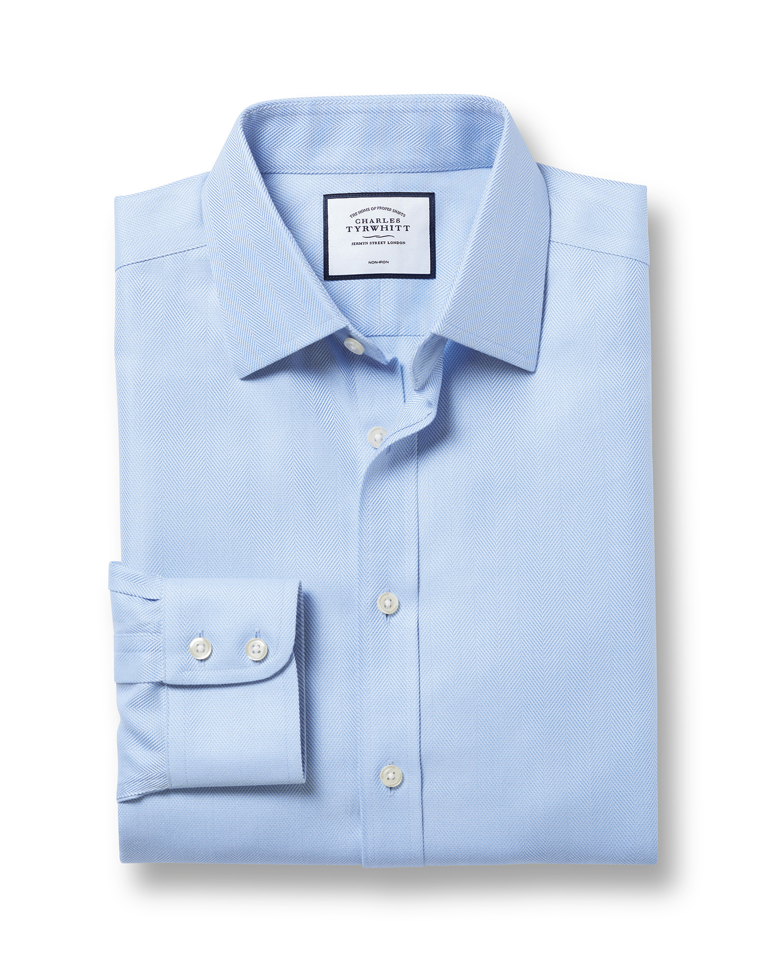 Classic Fit Non-Iron Sky Blue Herringbone Cotton Formal Shirt Single Cuff Size 16.5/35 by Charles Ty