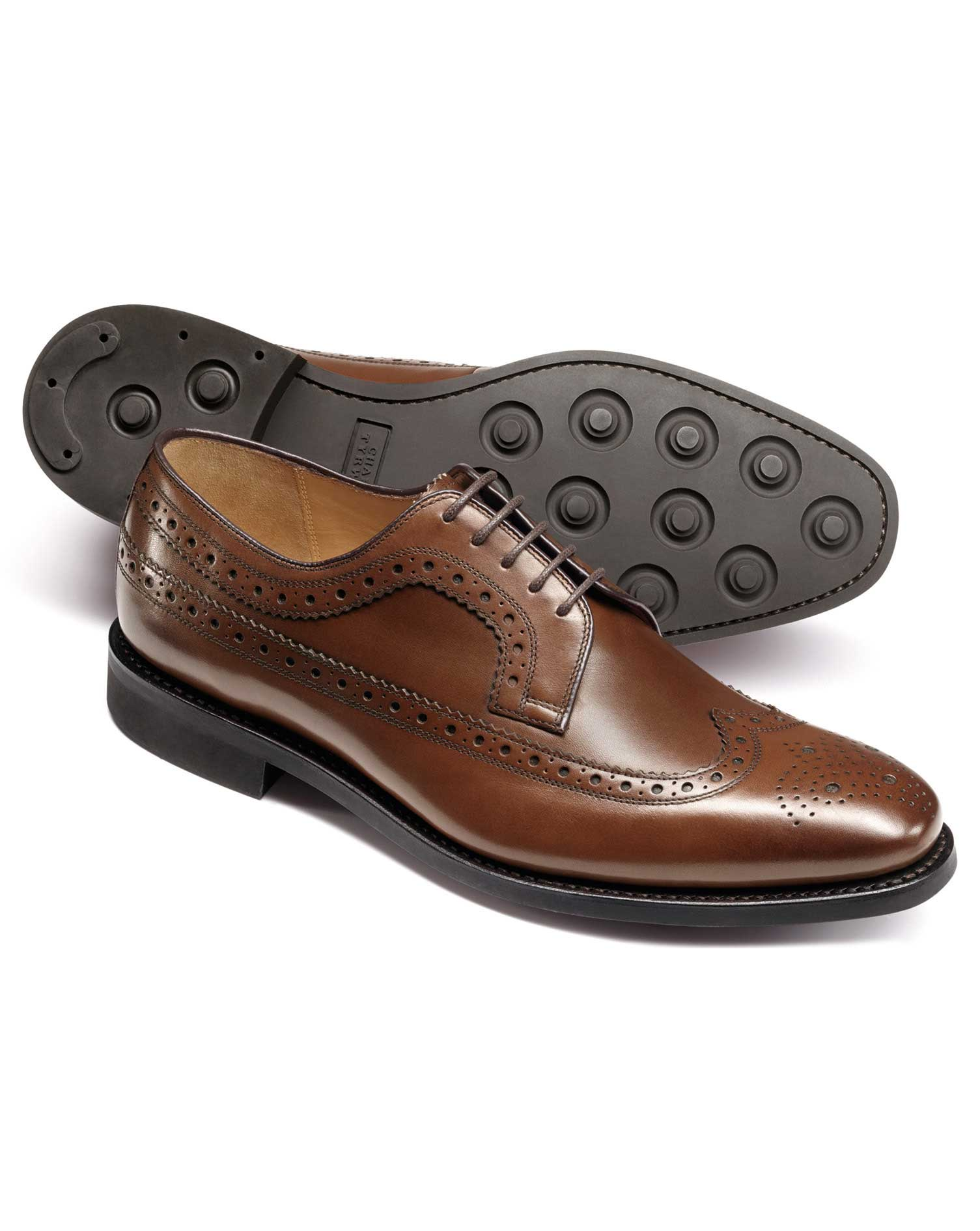 Chestnut Goodyear Welted Derby Wing Tip Brogue Shoes Size 9 R by Charles Tyrwhitt