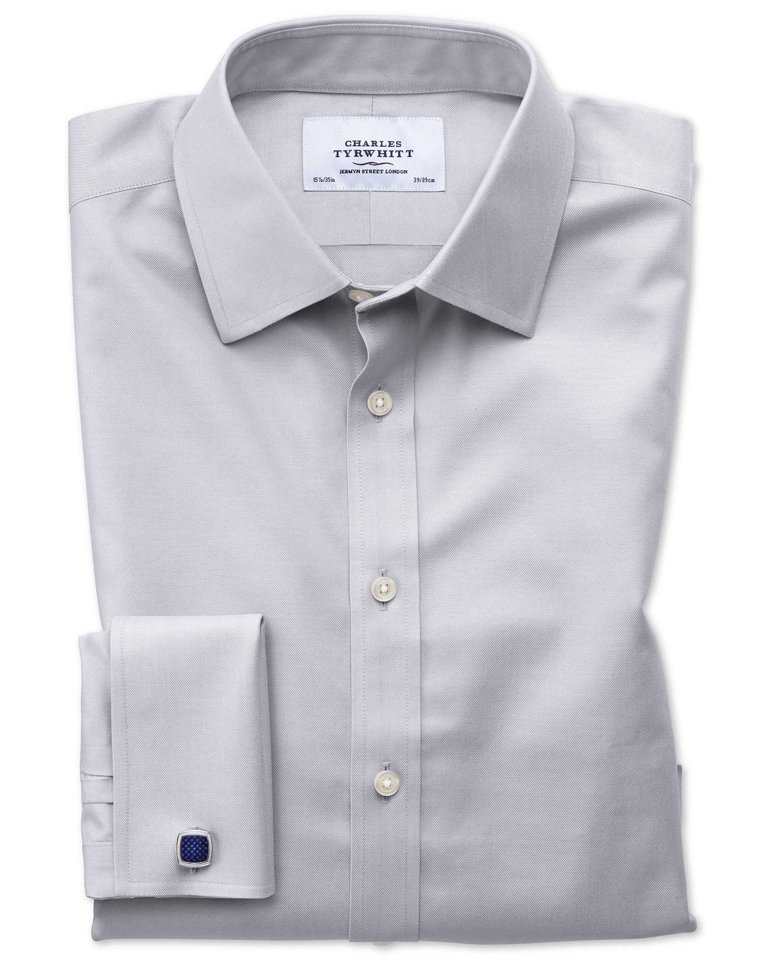 Classic Fit Non-Iron Twill Grey Cotton Formal Shirt Single Cuff Size 15.5/37 by Charles Tyrwhitt