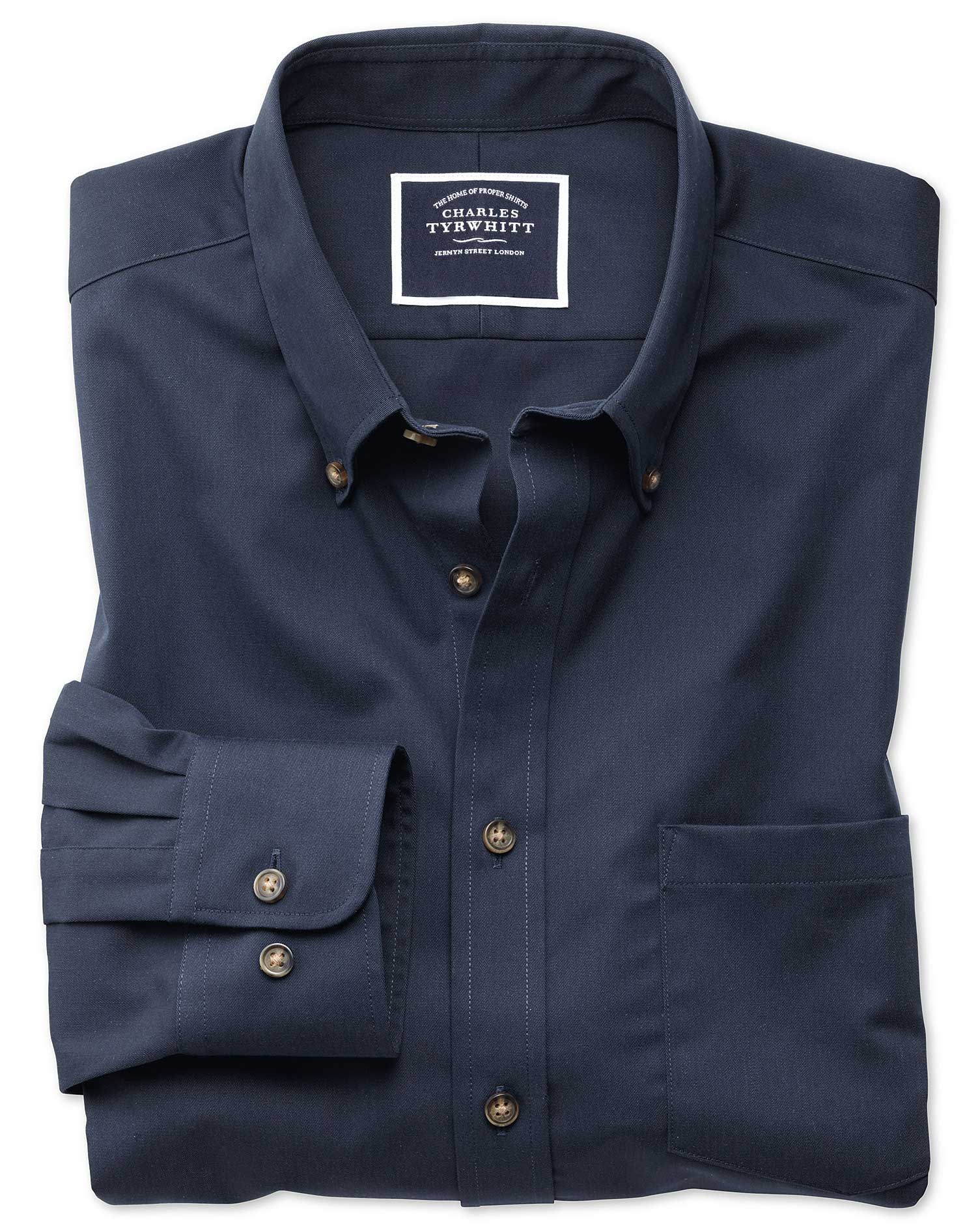Slim fit non iron twill navy shirt charles tyrwhitt for Slim fit non iron shirts