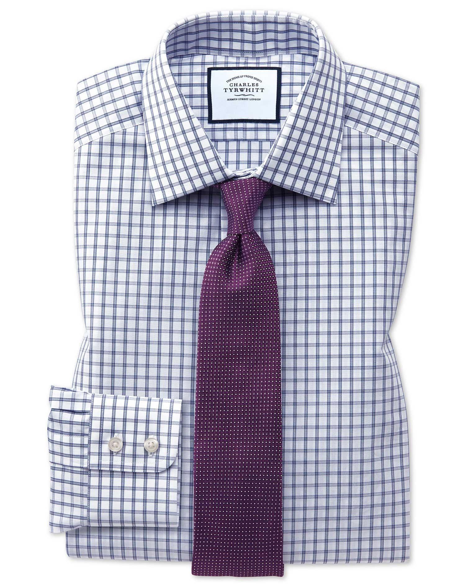 Classic Fit Blue Windowpane Check Cotton Formal Shirt Single Cuff Size 16/36 by Charles Tyrwhitt