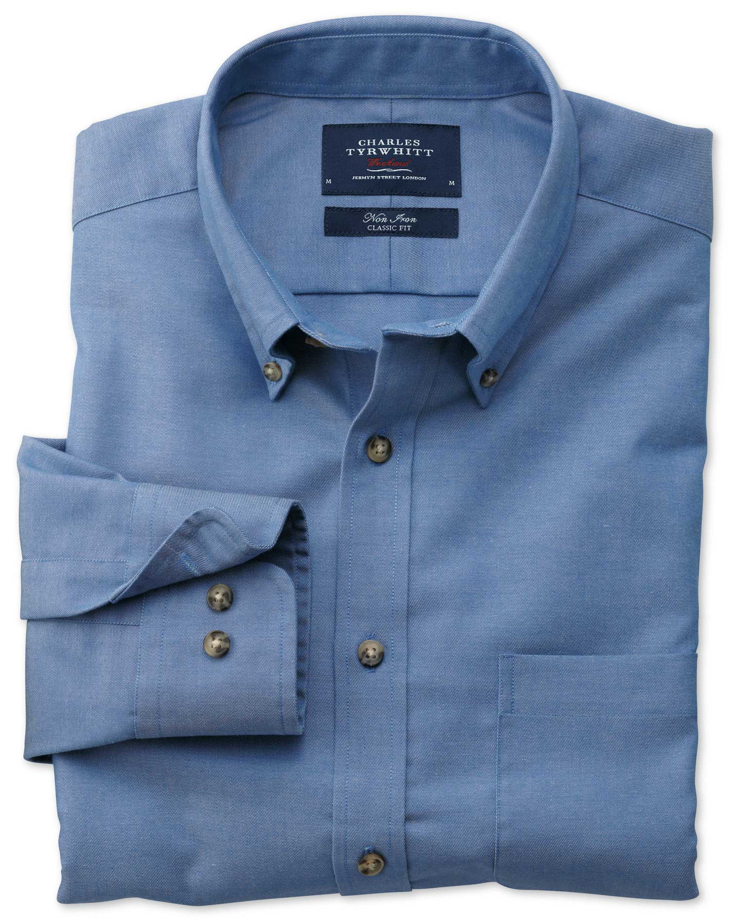 Slim Fit Non-Iron Twill Blue Cotton Shirt Single Cuff Size Medium by Charles Tyrwhitt