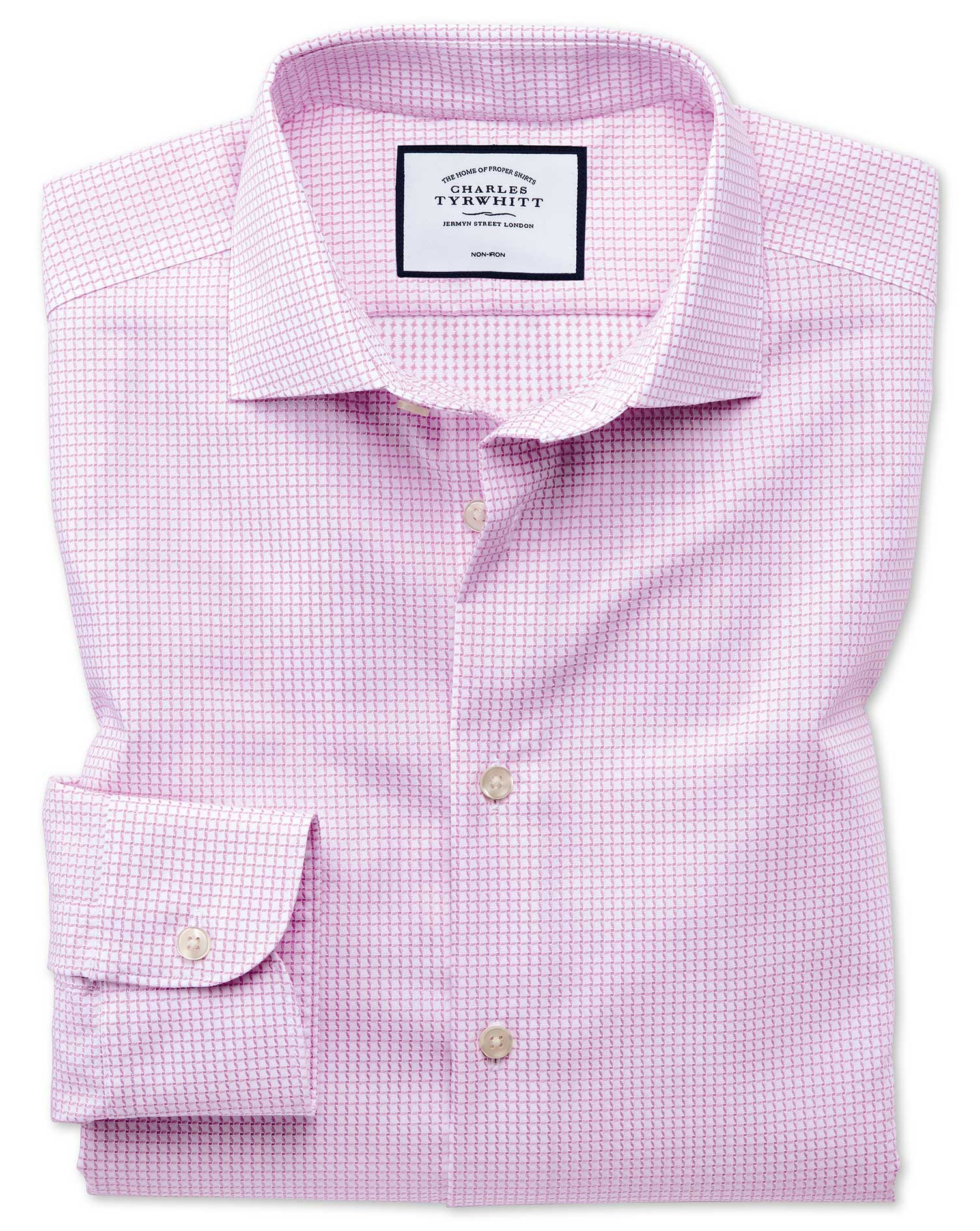 Classic Fit Business Casual Non-Iron Modern Textures Pink Cotton Formal Shirt Single Cuff Size 16/34