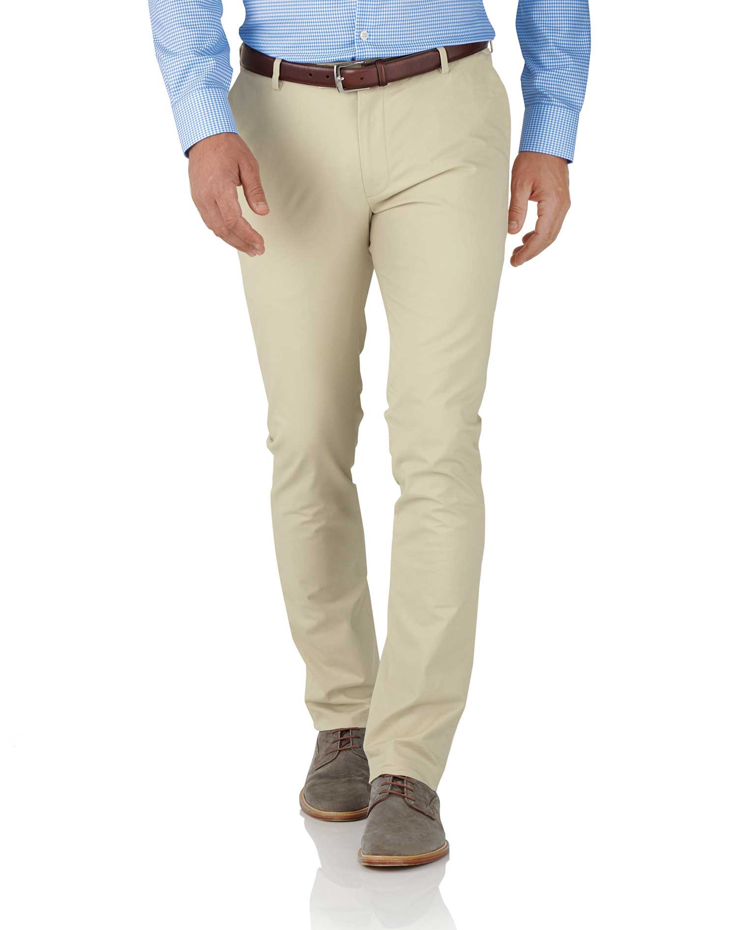 Stone Extra Slim Fit Stretch Cotton Chino Trousers Size W36 L32 by Charles Tyrwhitt