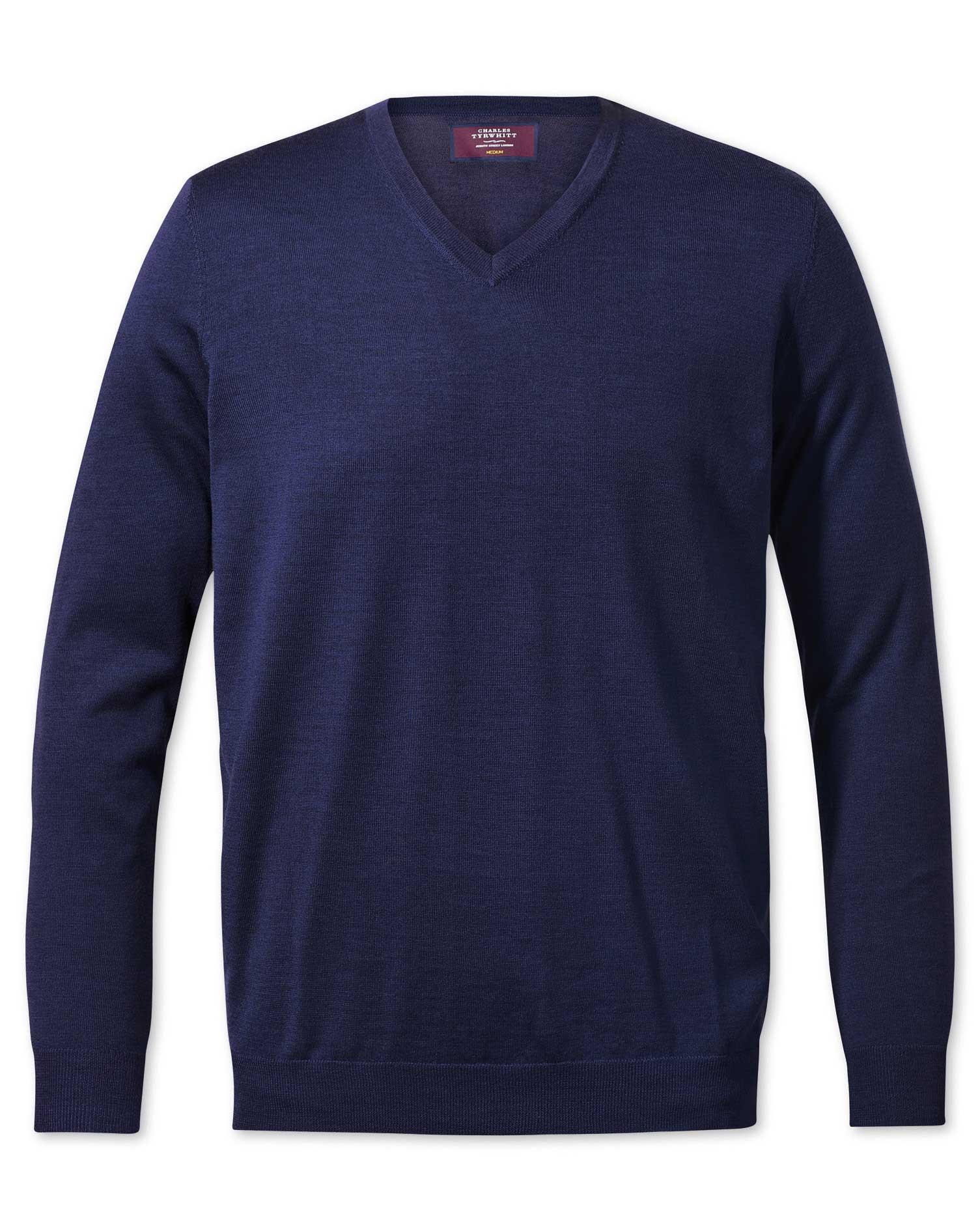 Blue V-Neck Merino-Silk Wool Jumper Size Large by Charles Tyrwhitt