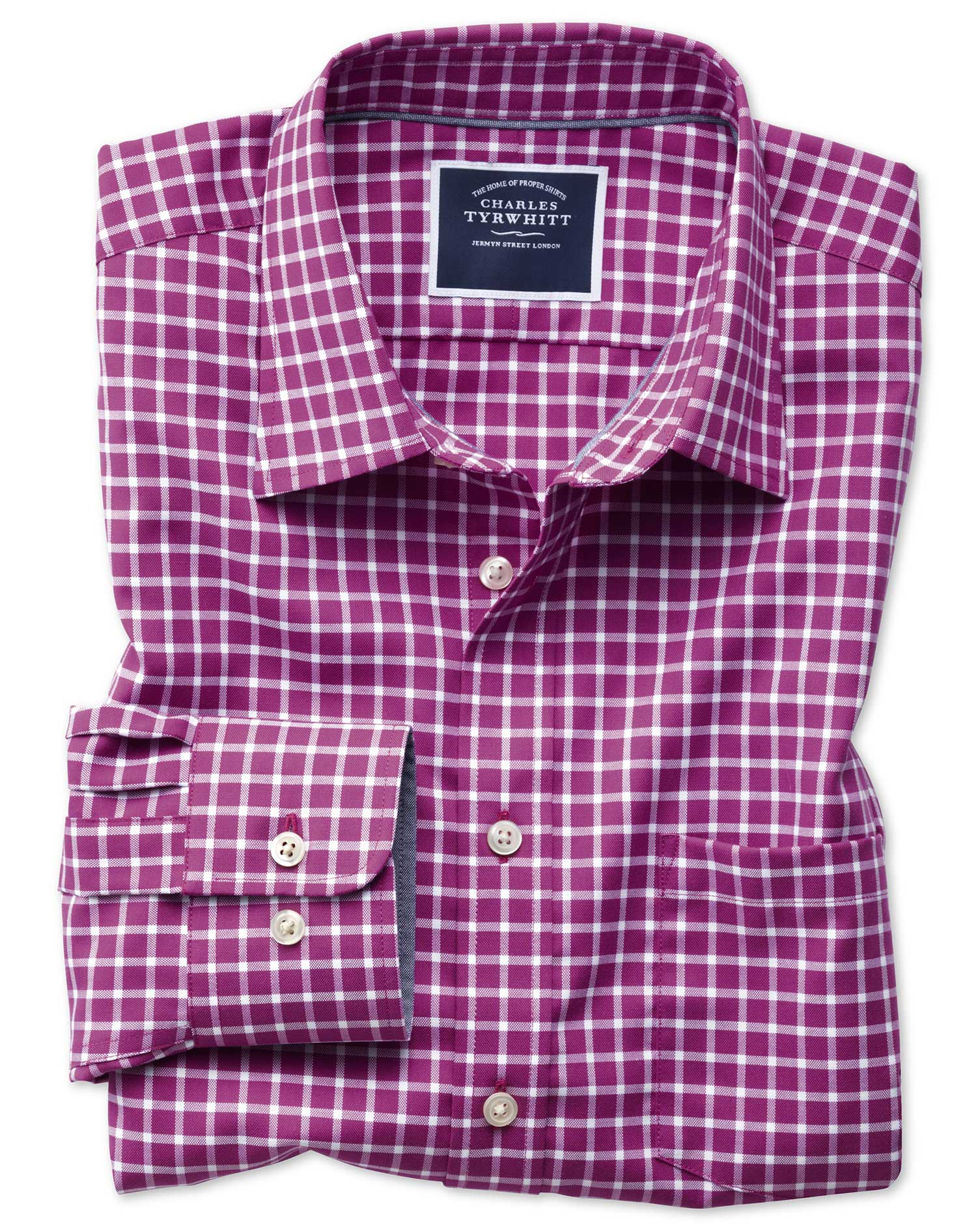 slim fit non-iron oxford magenta and white grid check cotton casual shirt single cuff size xs by charles tyrwhitt