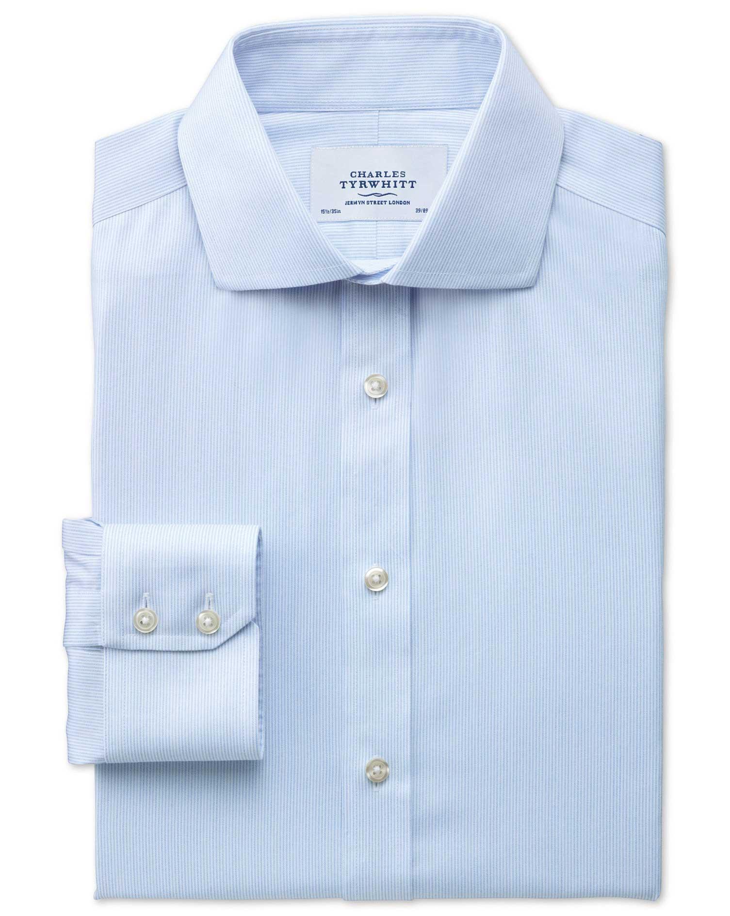 Slim Fit Cutaway Collar Non-Iron Mouline Stripe Sky Blue Cotton Formal Shirt Single Cuff Size 16.5/3