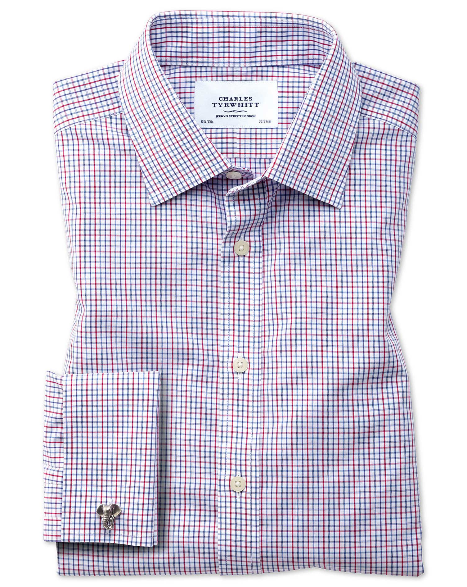 Extra Slim Fit Non-Iron Grid Check Multi Cotton Formal Shirt Single Cuff Size 16.5/34 by Charles Tyr