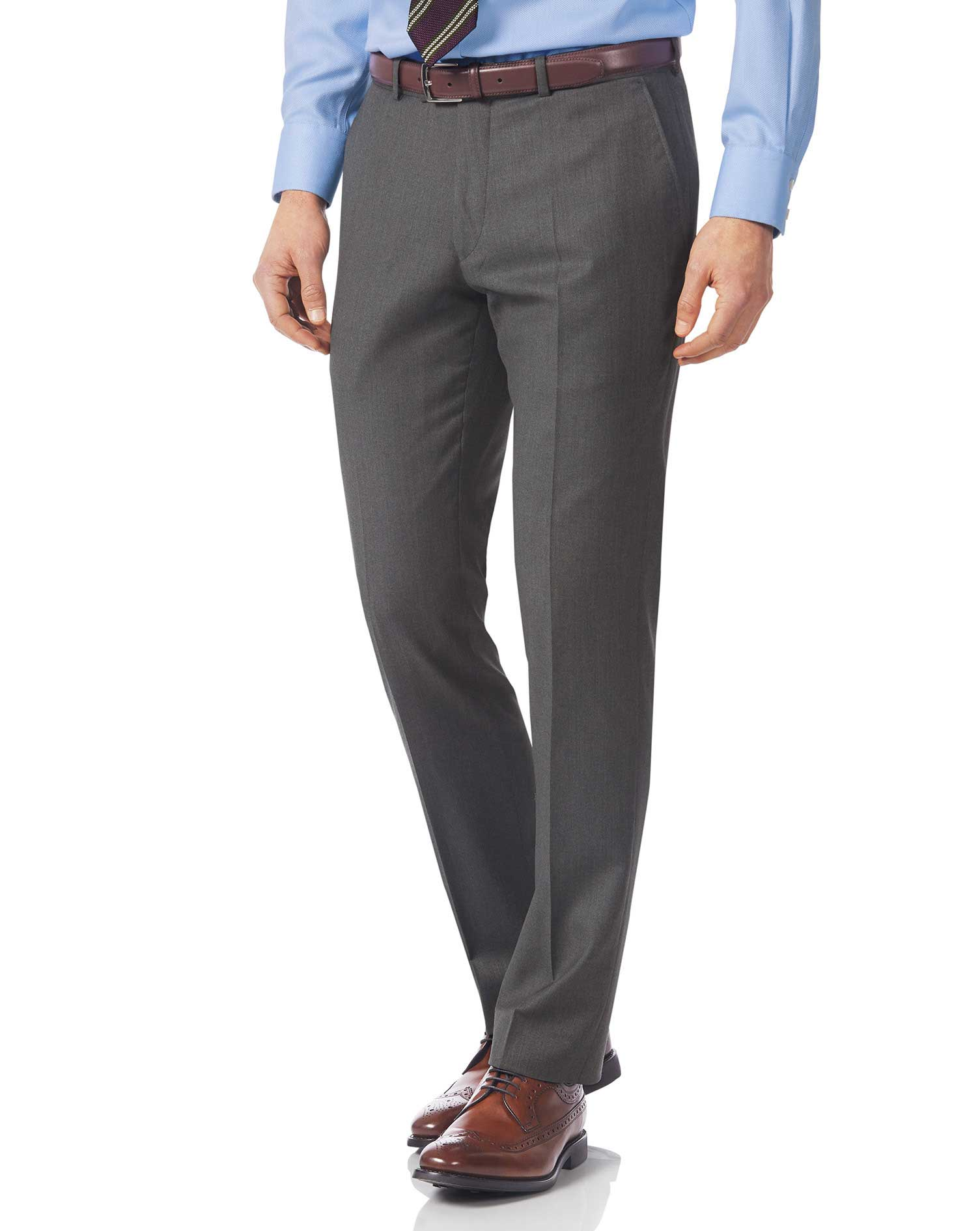 Grey Slim Fit Italian Twill Luxury Suit Trousers Size W36 L32 by Charles Tyrwhitt