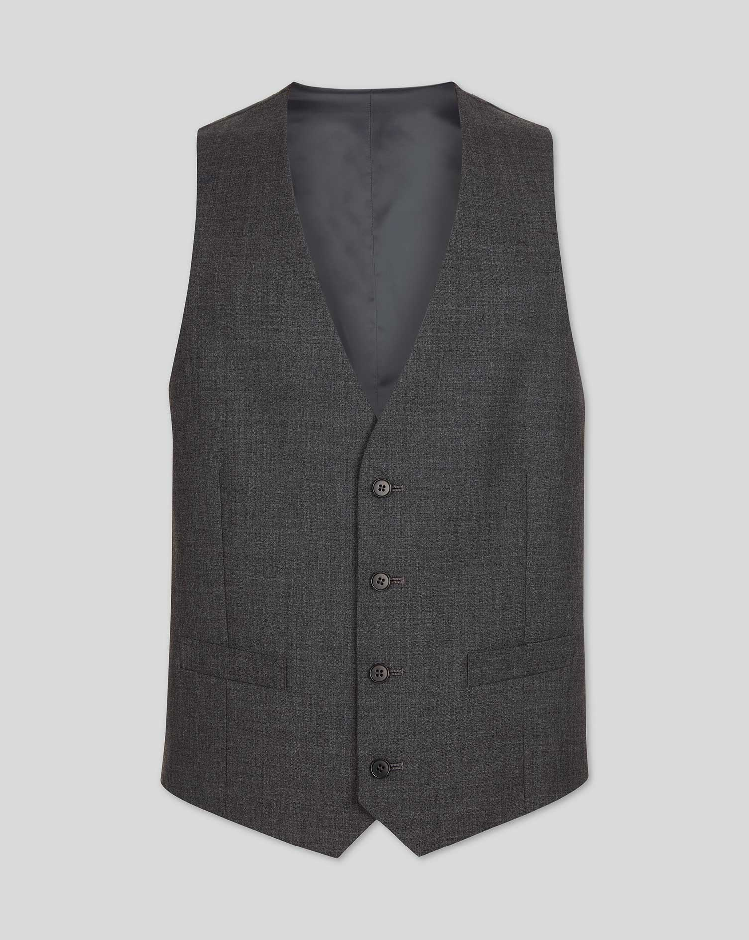 Grey Adjustable Fit Merino Business Suit Merino Wool Waistcoat Size w40 by Charles Tyrwhitt