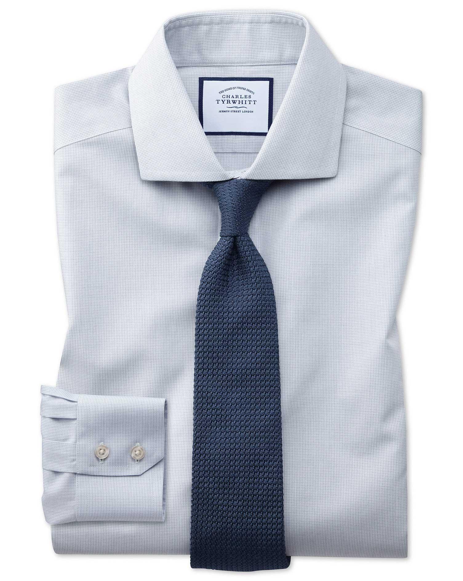 Extra Slim Fit Non-Iron Cutaway Collar Grey Puppytooth Cotton Formal Shirt Single Cuff Size 15.5/34