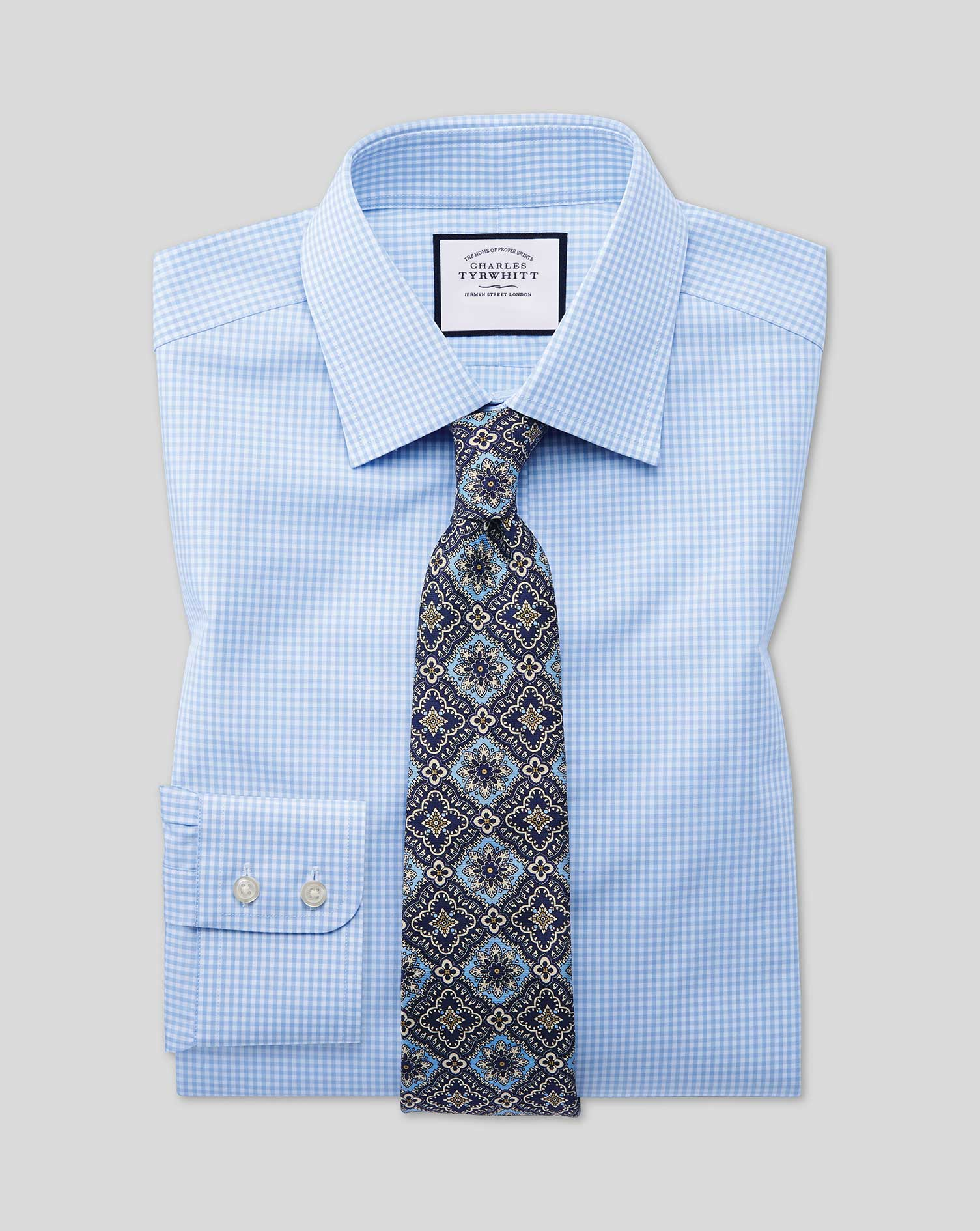 Classic Fit Sky Blue Small Gingham Cotton Formal Shirt Double Cuff Size 17/36 by Charles Tyrwhitt