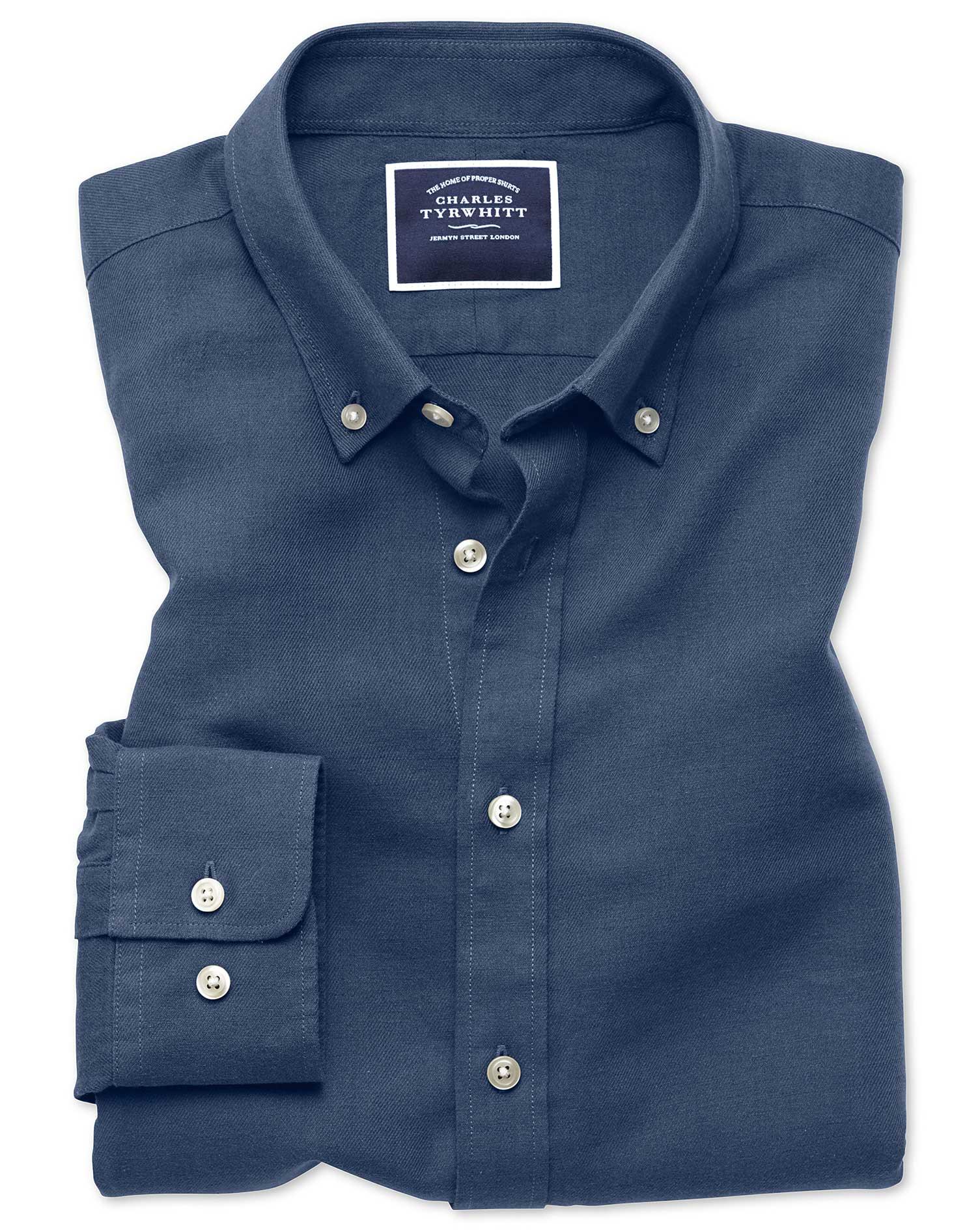 Classic Fit Dark Blue Cotton Linen Twill Shirt Single Cuff Size Large by Charles Tyrwhitt