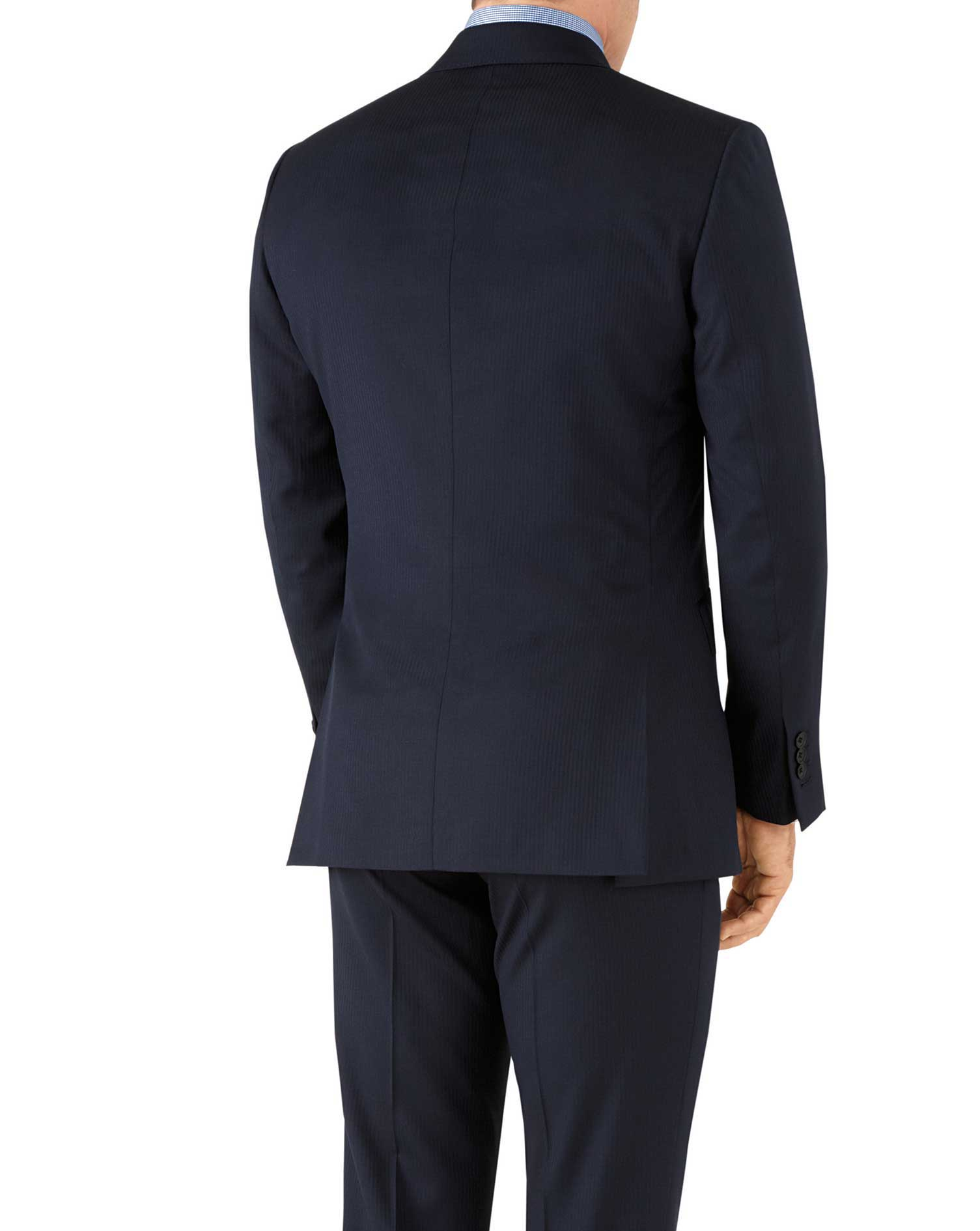 Navy herringbone classic fit Italian suit jacket