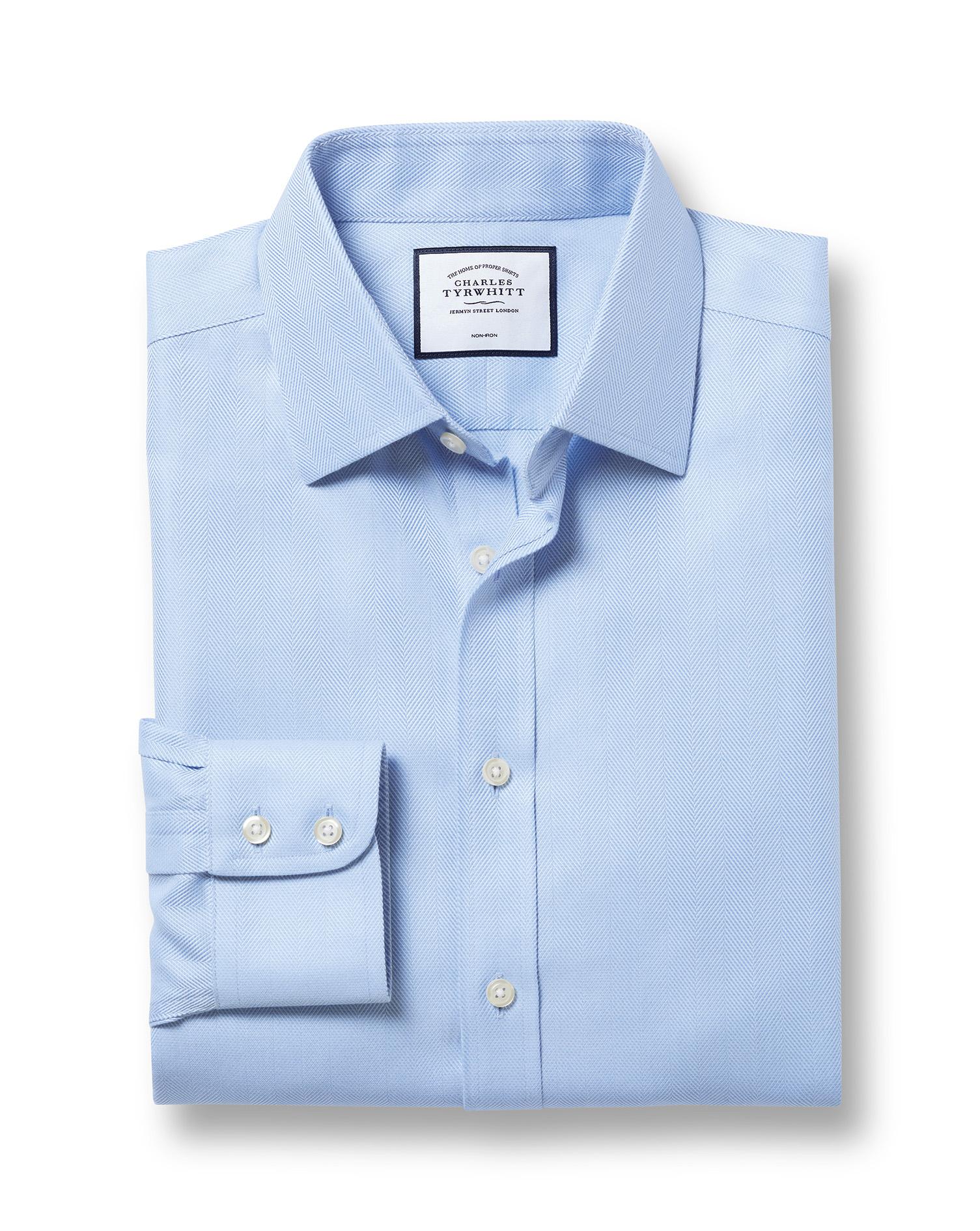 Cotton Classic Fit Non-Iron Sky Blue Herringbone Shirt