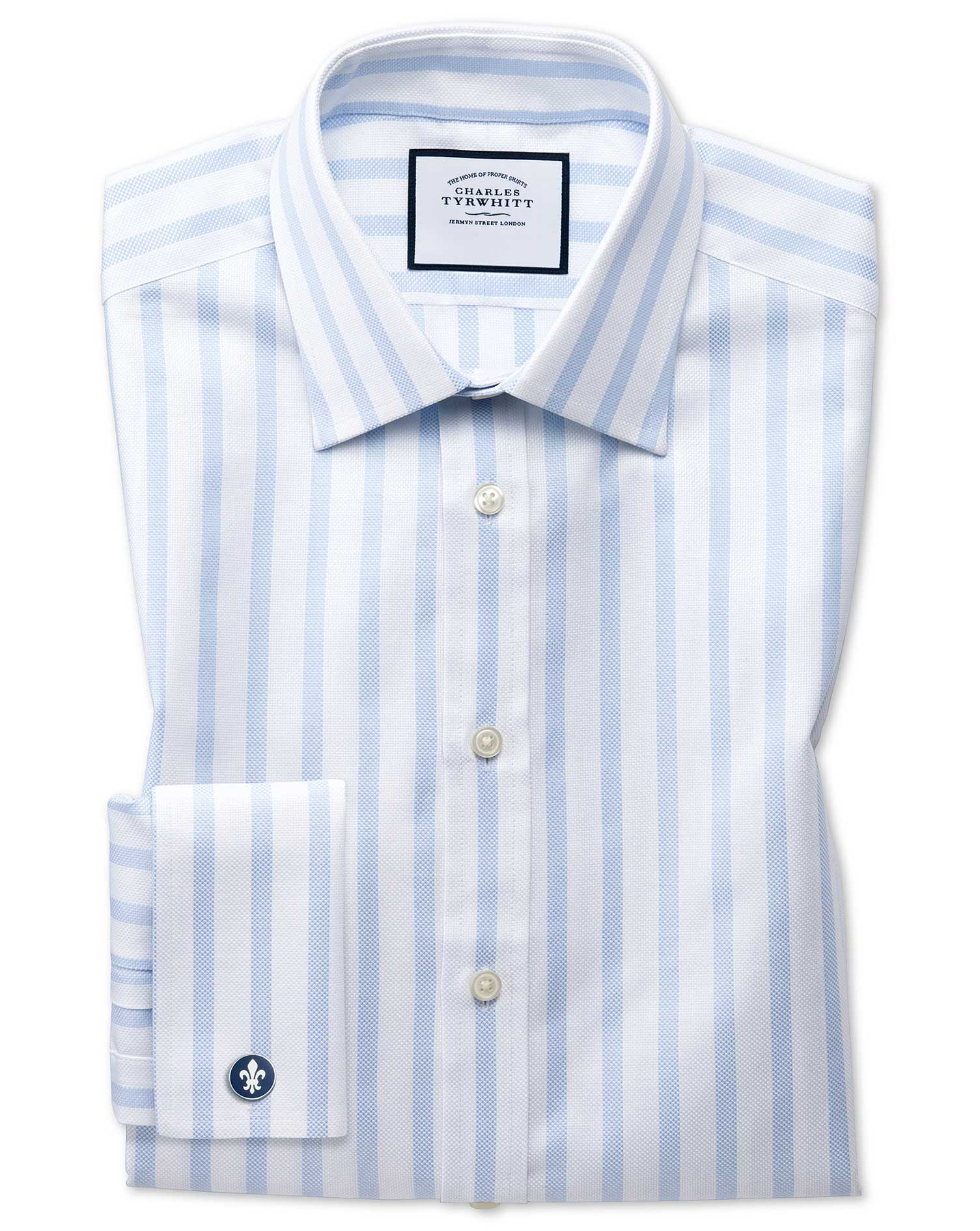 Classic Fit Egyptian Cotton Royal Oxford Sky Blue Stripe Formal Shirt Single Cuff Size 17.5/34 by Ch