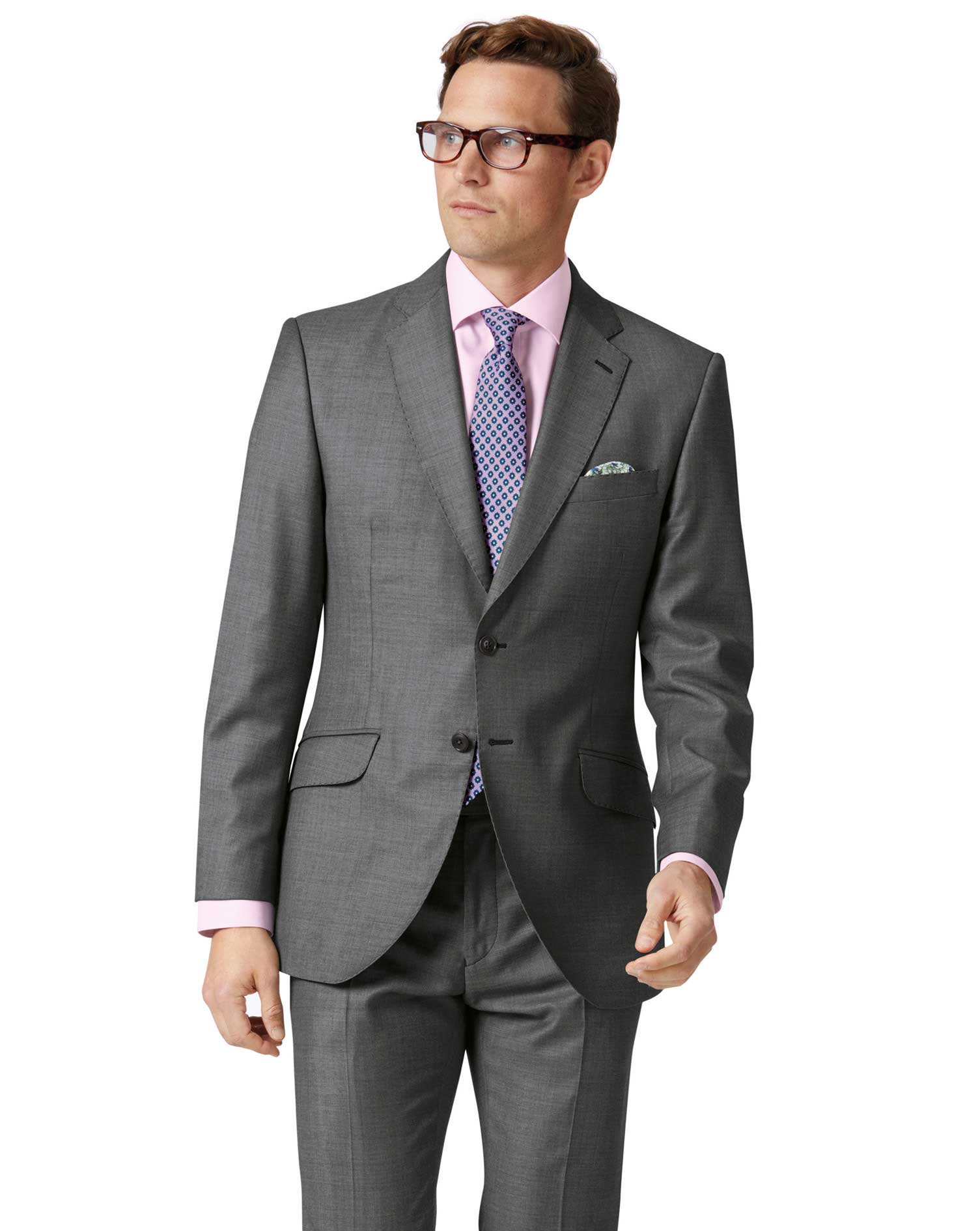Light Grey Slim Fit Wool With Cashmere Italian Suit Jacket Size 44 Regular by Charles Tyrwhitt