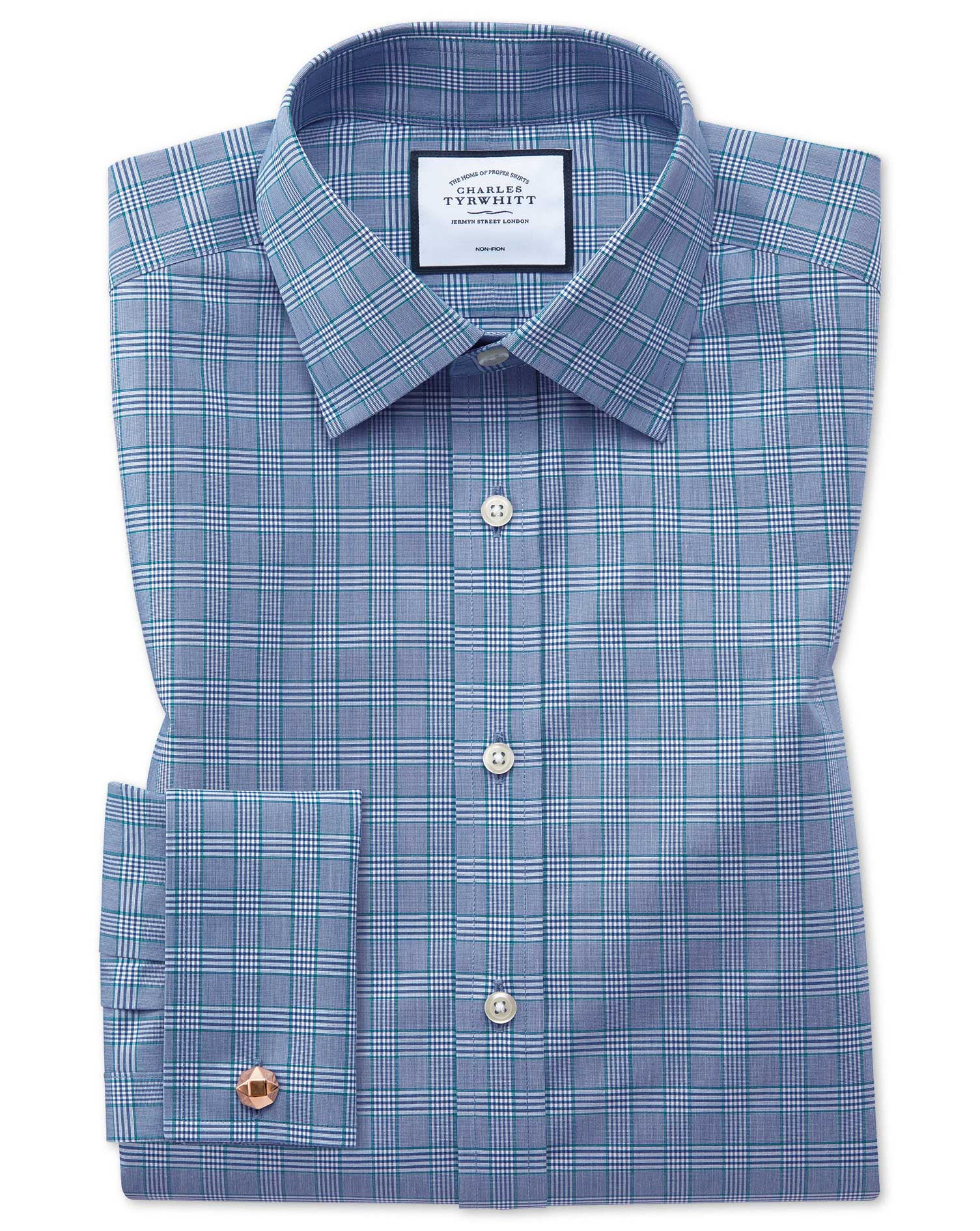 Slim Fit Non-Iron Blue and Green Prince Of Wales Check Cotton Formal Shirt Single Cuff Size 15.5/33