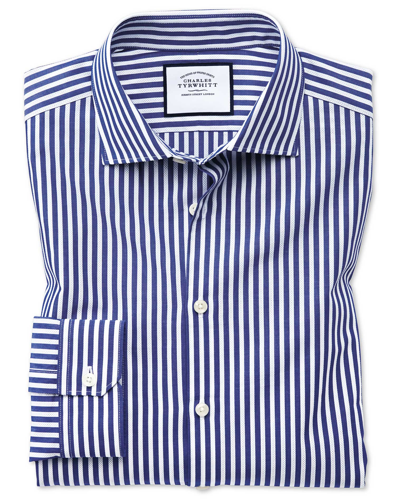 Super Slim Fit Business Casual Leno Texture Blue and White Stripe Cotton Formal Shirt Single Cuff Si